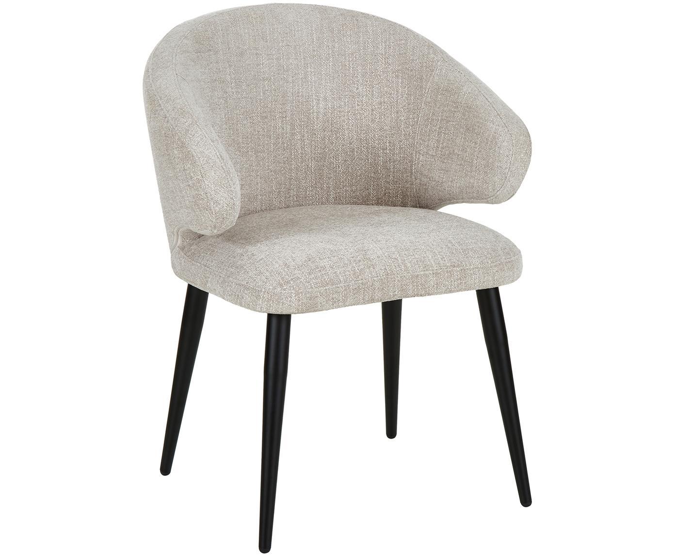 Krzesło z podłokietnikami Celia, Tapicerka: tkanina (80% poliester, 2, Nogi: metal malowany proszkowo, Tapicerka: jasnoszary Nogi: czarny, matowy, S 57 x G 62 cm