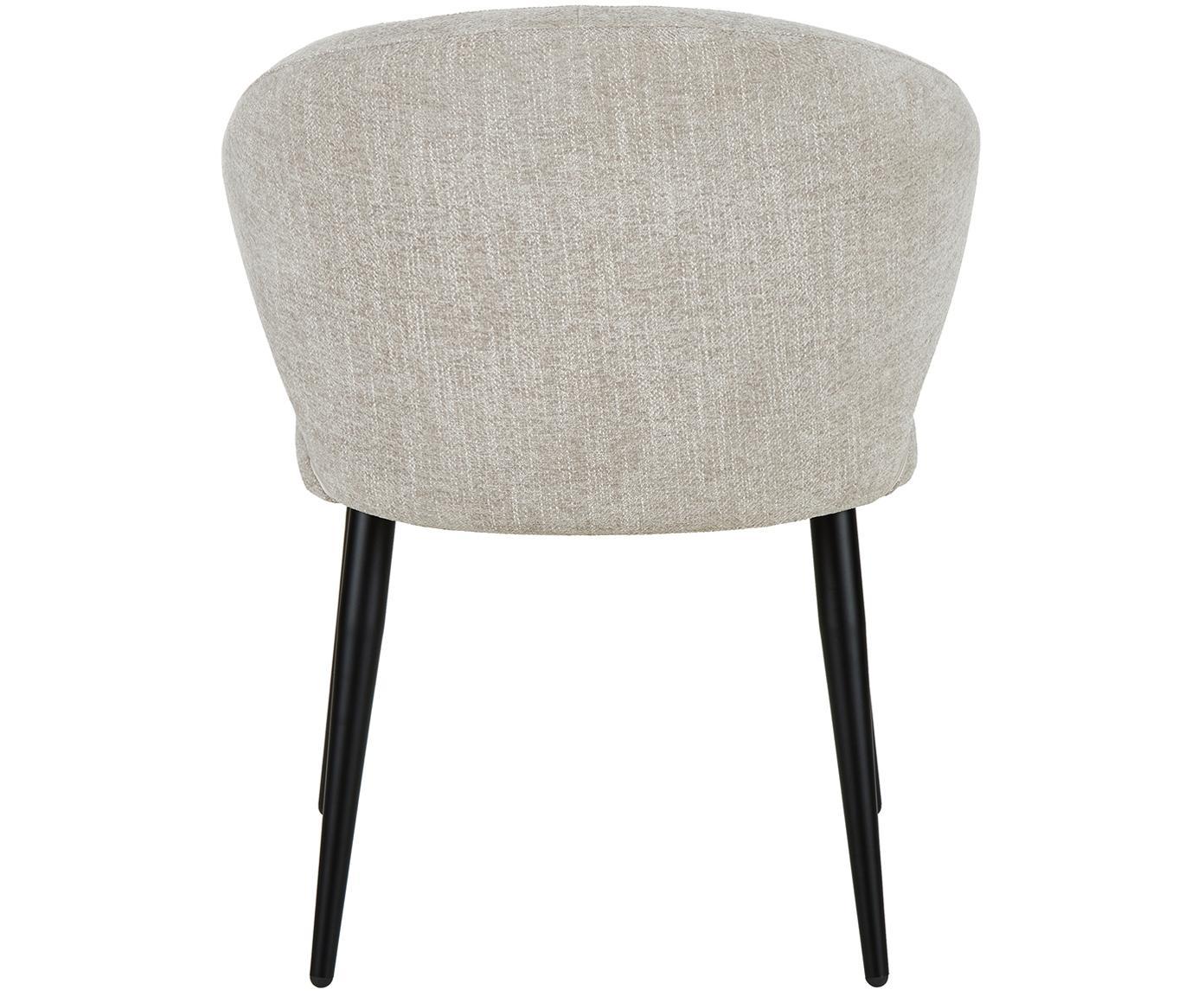 Armstoel Celia in modern design, Bekleding: textiel (80% polyester, 2, Poten: gepoedercoat metaal, Bekleding: lichtgrijs. Poten: mat zwart, B 57 x D 62 cm