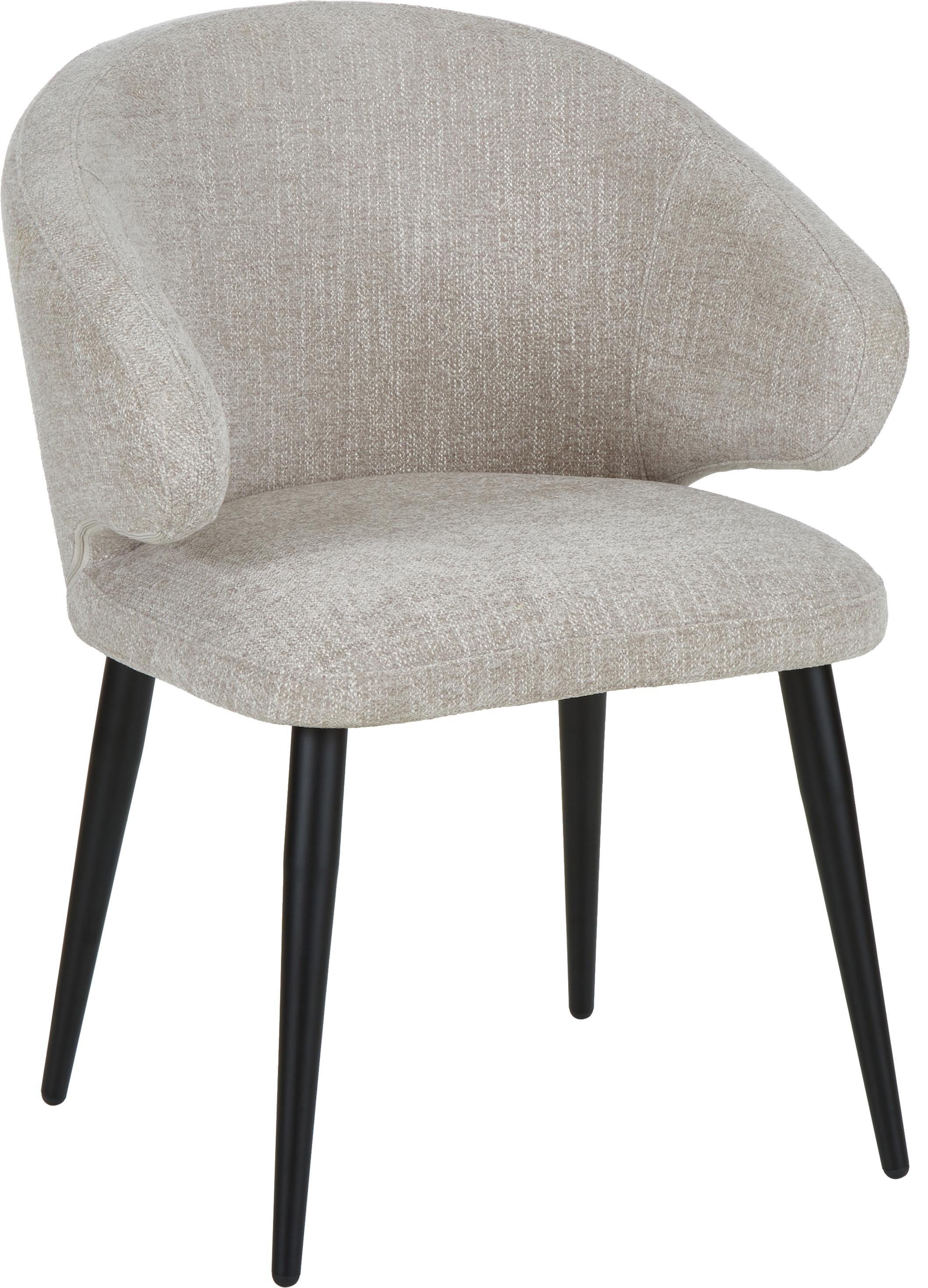 Armlehnstuhl Celia in modernem Design, Bezug: Textil (80% Polyester, 20, Beine: Metall, pulverbeschichtet, Webstoff Hellgrau, B 57 x T 62 cm