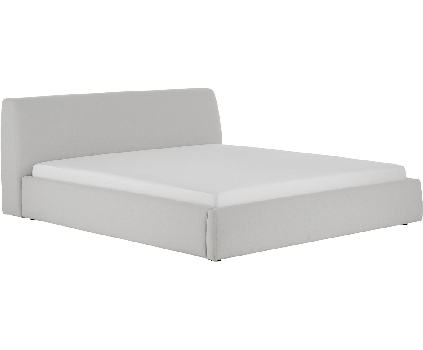 Gestoffeerd bed Cloud met opbergruimte, Frame: massief grenenhout, Bekleding: polyester (structuurmater, Lichtgrijs, 160 x 200 cm