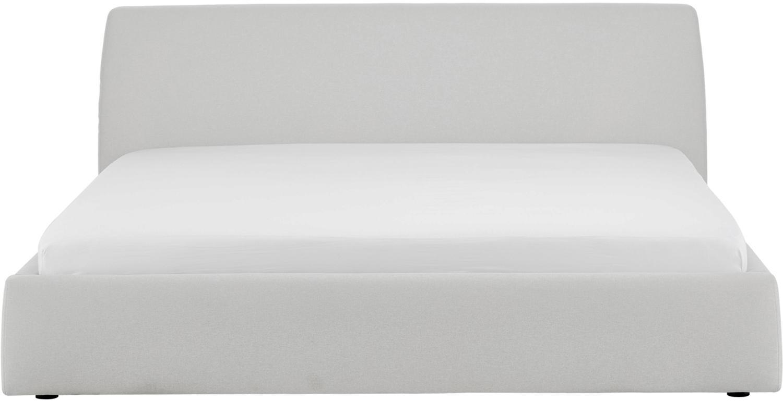 Letto imbottito Cloud, Rivestimento: Poliestere (tessuto strut, Tessuto grigio chiaro, 180 x 200 cm