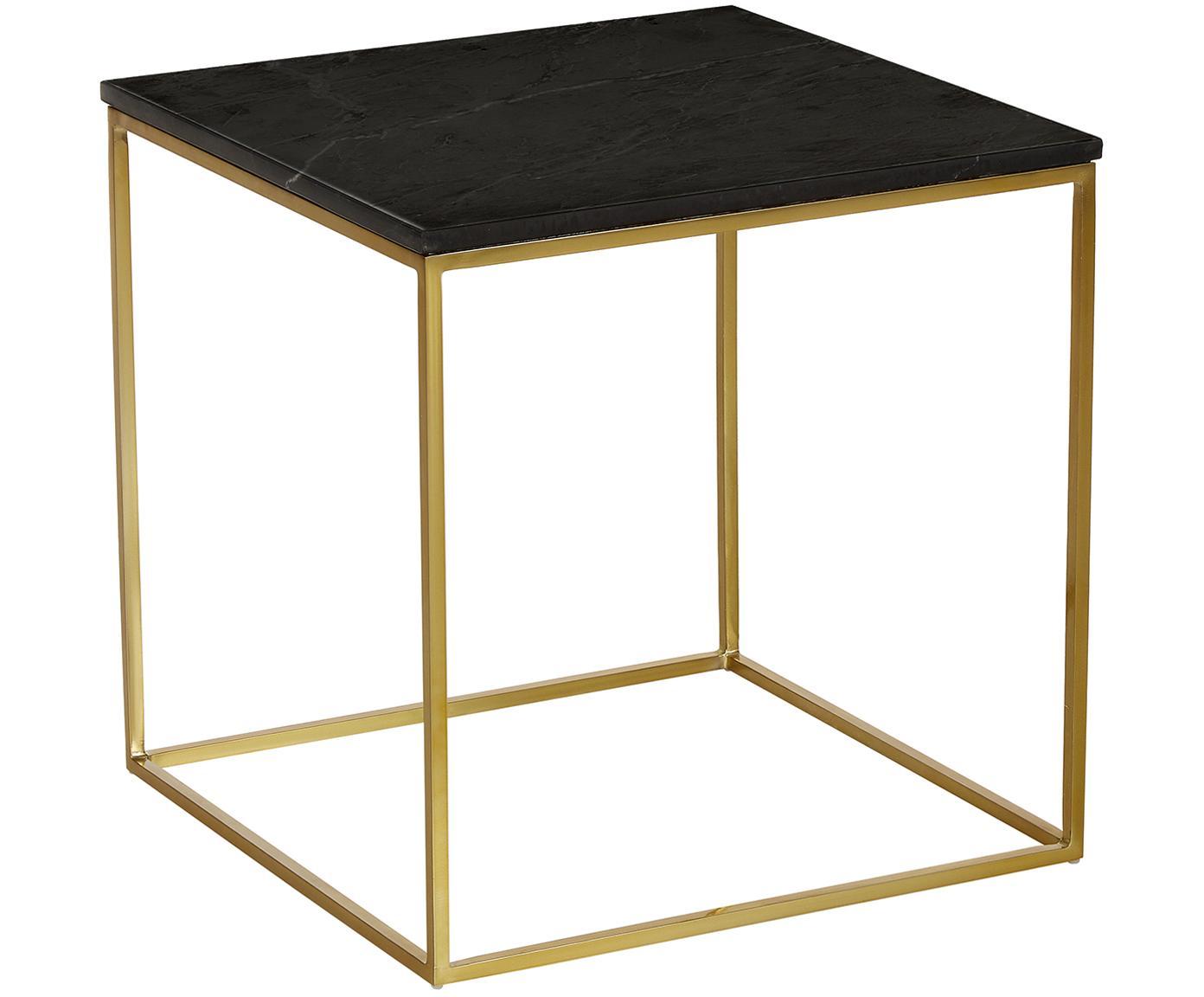 Mesa auxiliar de mármol Vince, Tablero: mármol natural, Estructura: metal recubierto, Negro, An 50 x Al 50 cm