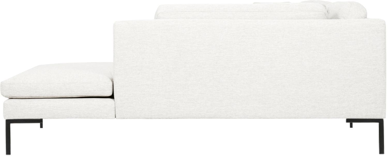 Canapé d'angle Emma, Tissu blanc crème, pieds noirs
