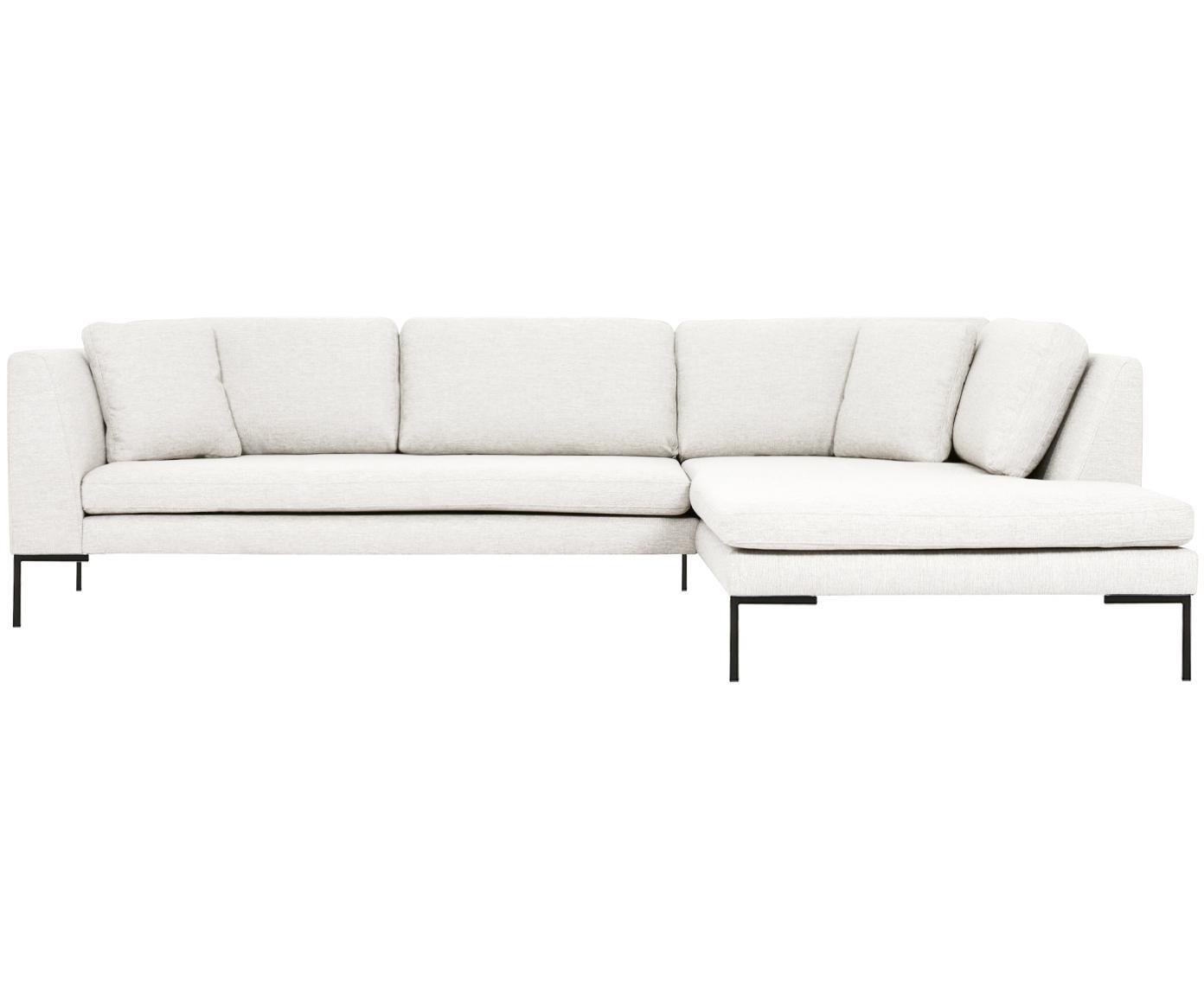 Hoekbank Emma, Bekleding: polyester, Frame: massief grenenhout, Poten: gepoedercoat metaal, Crèmekleurig, B 302 x D 220 cm