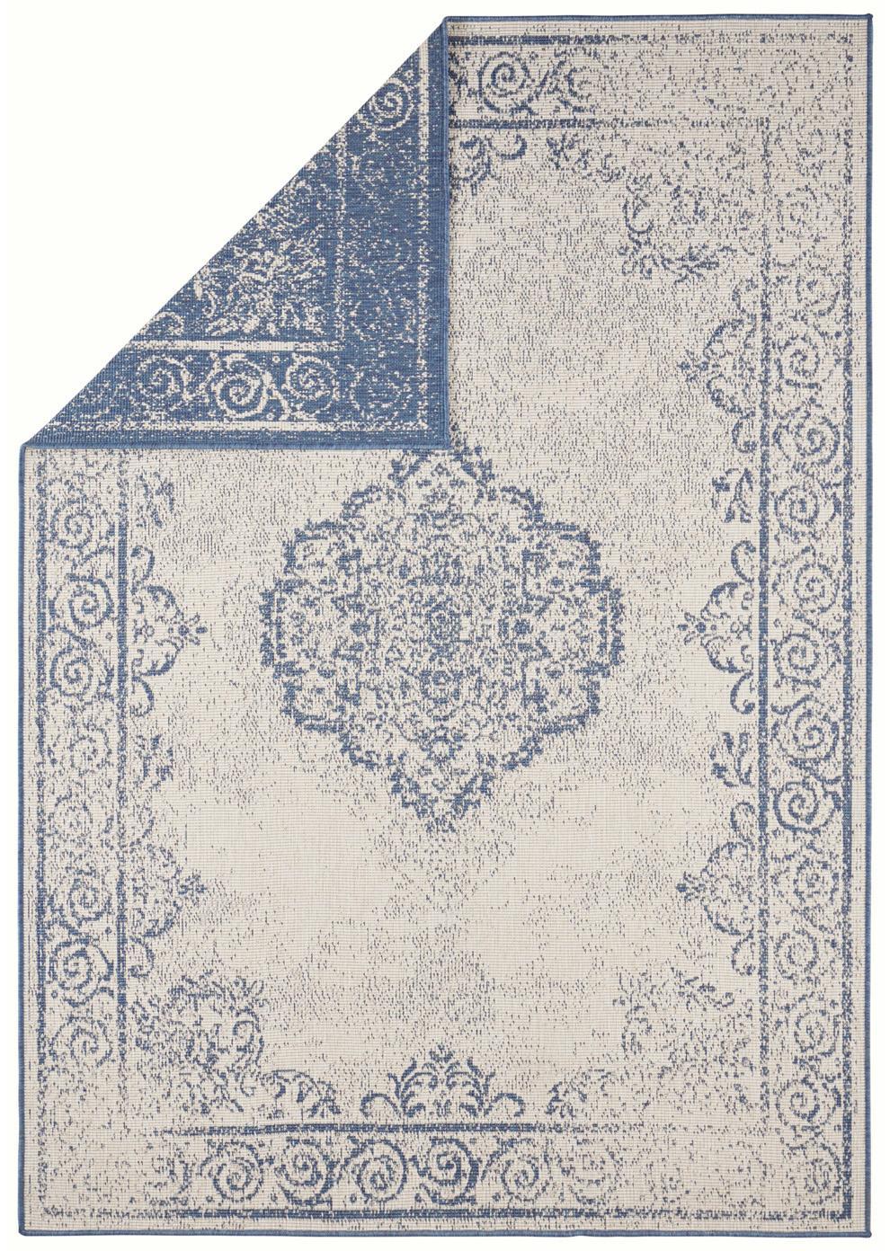 In- & Outdoor-Wendeteppich Cebu im Vintage Look, Blau/Creme, 100% Polypropylen, Blau, Beige, B 80 x L 150 cm (Größe XS)