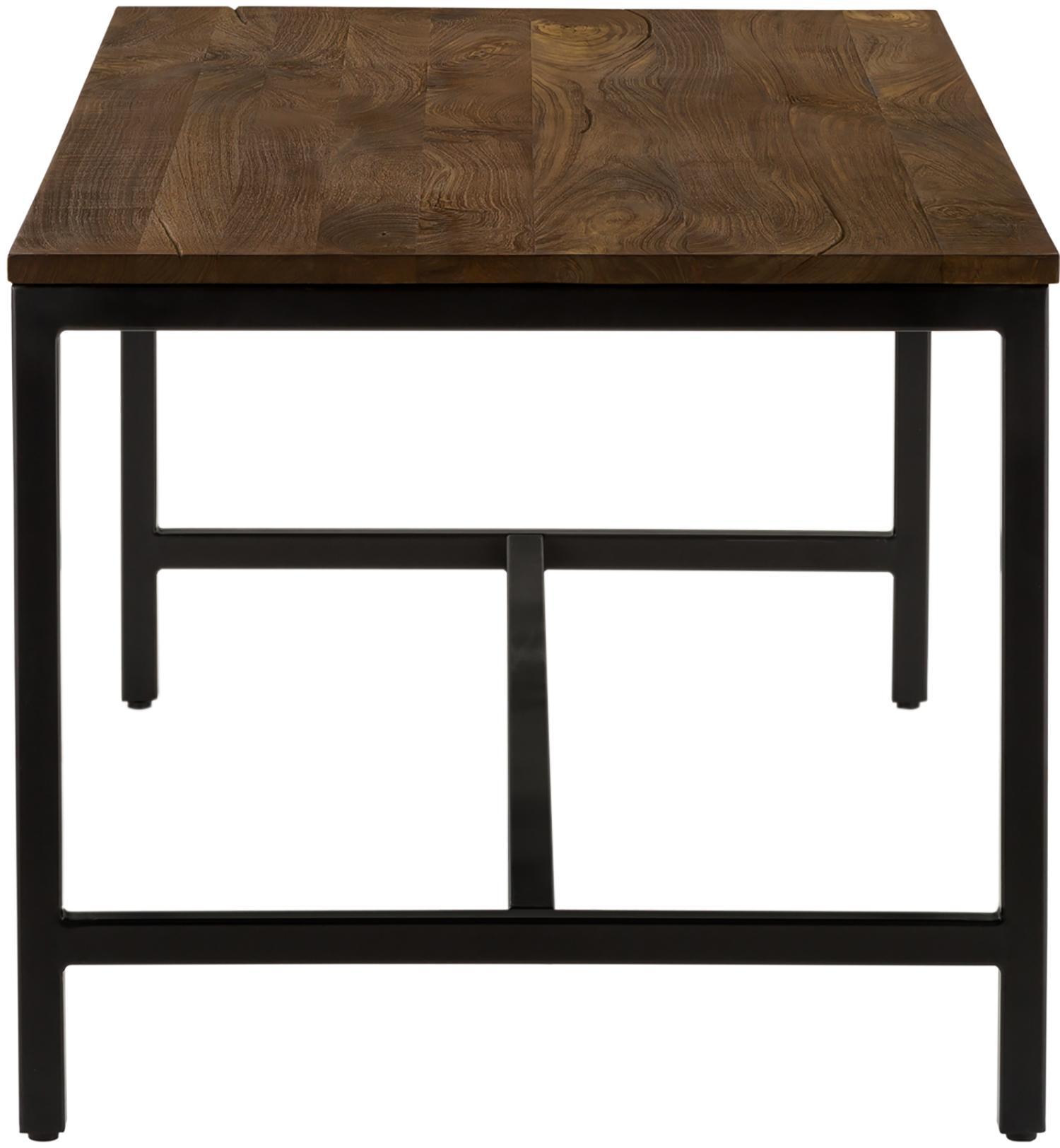 Esstisch Raw mit Massivholzplatte, Tischplatte: Massives Mangoholz, gebür, Gestell: Metall, pulverbeschichtet, Tischplatte: Mangoholz mit Vintage-LookGestell: Schwarz, B 180 x T 90 cm