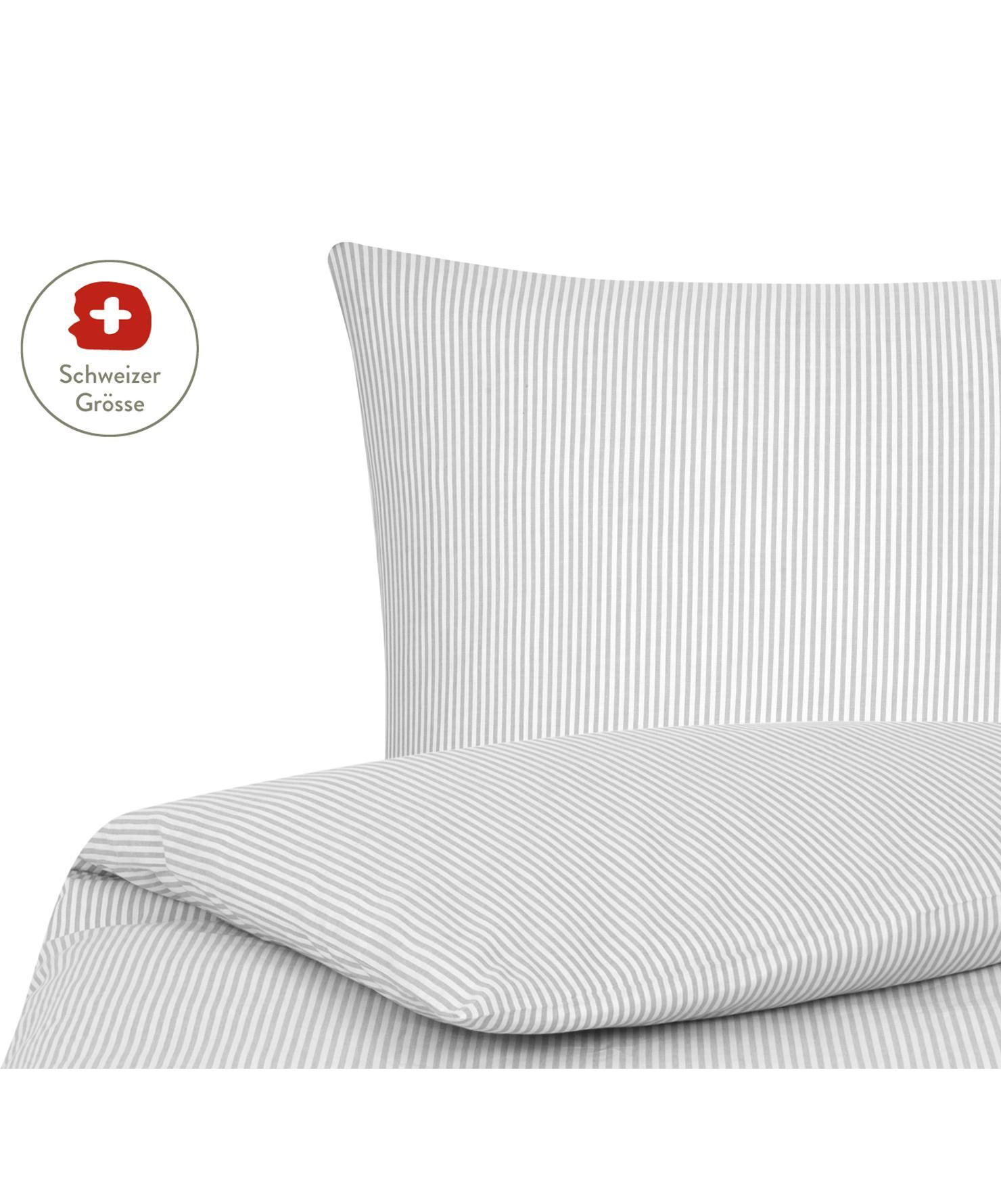 Baumwoll-Bettdeckenbezug Ellie, fein gestreift, Webart: Renforcé Fadendichte 118 , Weiss, Grau, 160 x 210 cm