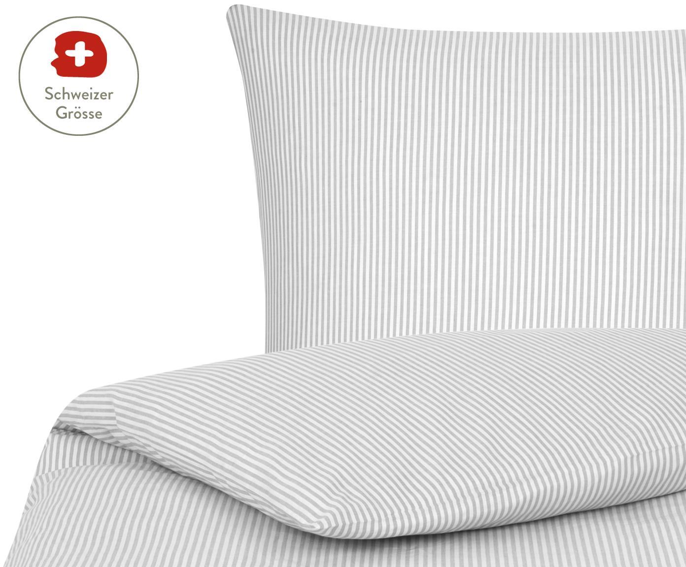 Baumwoll-Bettdeckenbezug Ellie, fein gestreift, Webart: Renforcé, Weiss, Grau, 160 x 210 cm