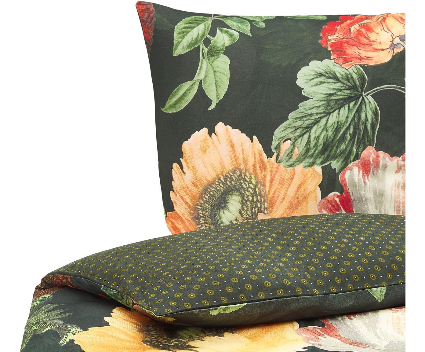 Flanell-Wendebettwäsche Esmee mit Blumen-Muster, Webart: Flanell Fadendichte 81 TC, Dunkelgrün, Mehrfarbig, 135 x 200 cm + 1 Kissen 80 x 80 cm