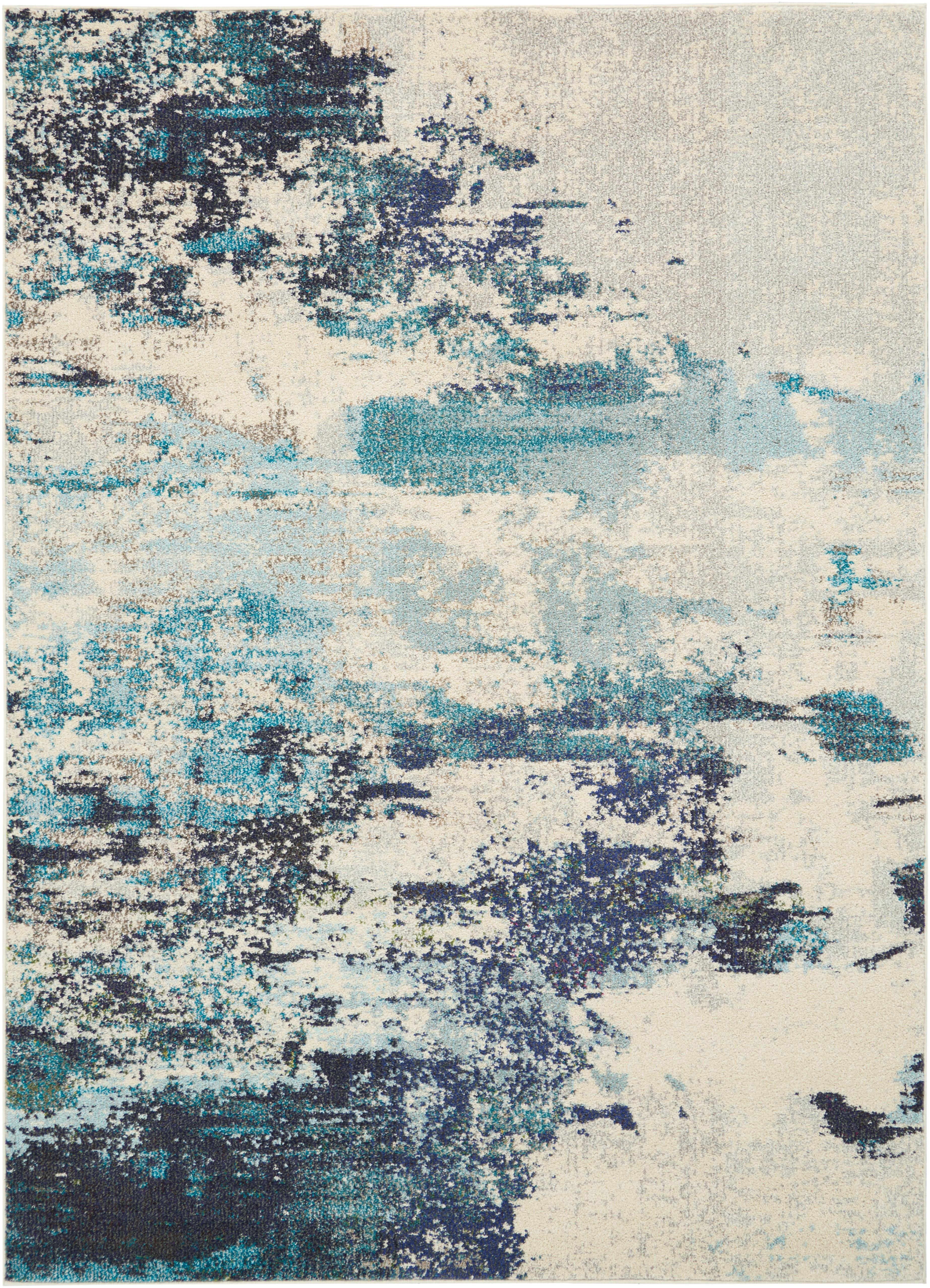 Alfombra de diseño Celestial, Parte superior: 100%polipropileno, Reverso: yute, Marfil, azul, An 160 x L 220 cm (Tamaño M)
