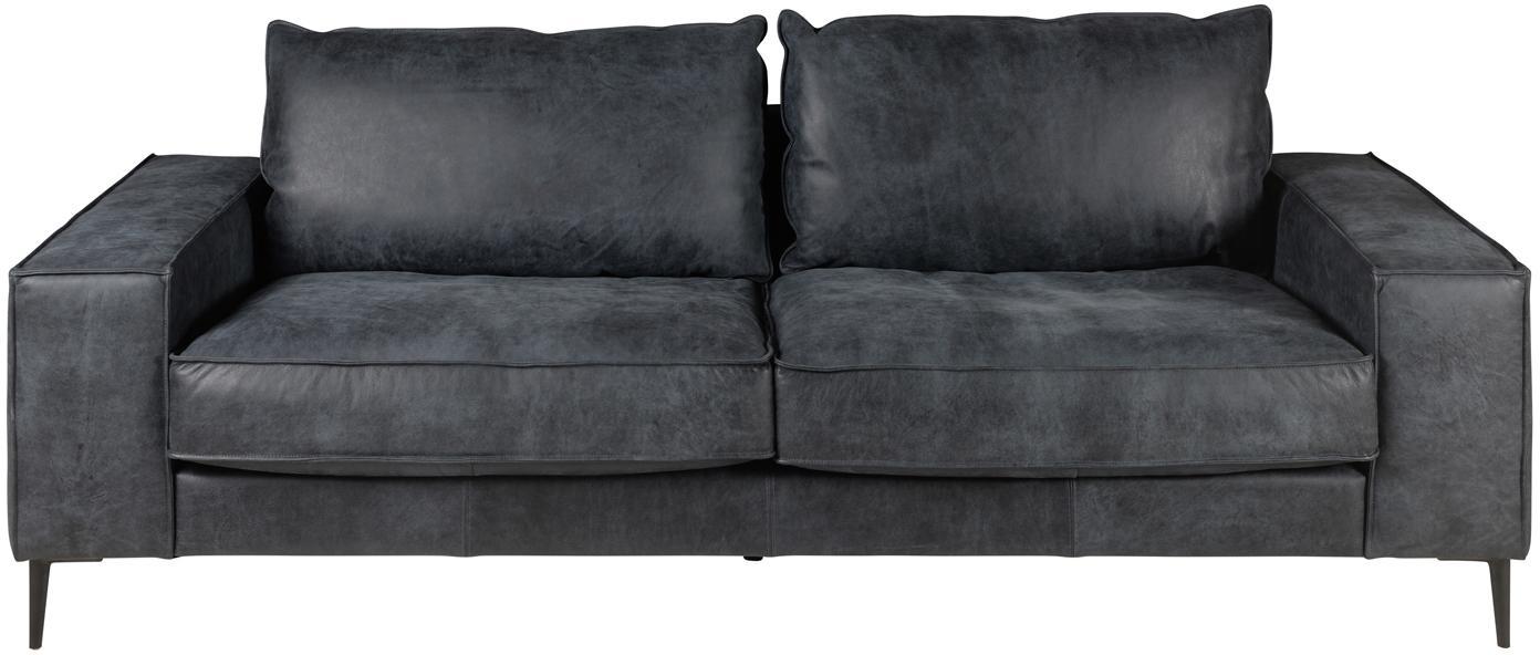 Leren bank Brett (3-zits), Bekleding: glad runderleer, Frame: gelakt aluminium, Zwart, Grijs, B 215 x D 90 cm