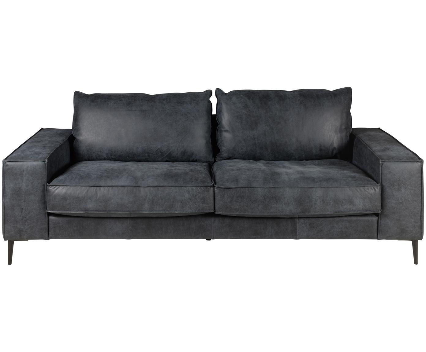 Sofa ze skóry Brett (3-osobowa), Tapicerka: skóra bydlęca, gładka, Stelaż: aluminium, lakierowane, Czarny, szary, S 215 x G 90 cm