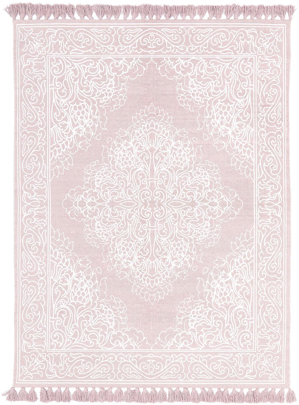 Tappeto in cotone tessuto a mano Salima, 100% cotone, Rosa, bianco crema, Larg. 160 x Lung. 230 cm (taglia M)