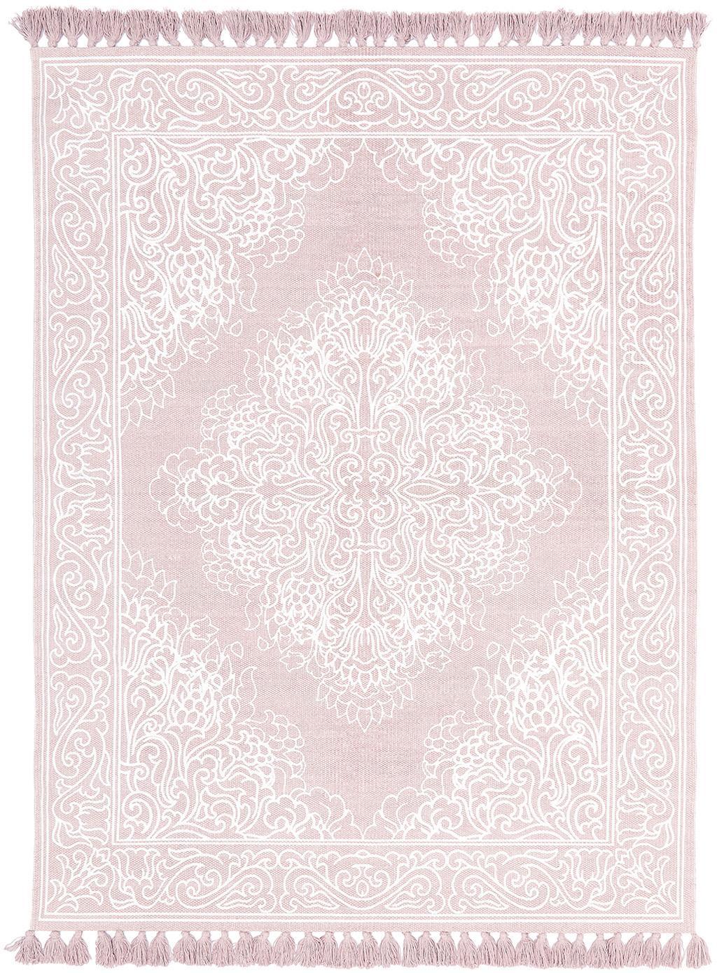Ręcznie tkany dywan z bawełny z chwostami Salima, 100% bawełna, Blady różowy, kremowobiały, S 160 x D 230 cm (Rozmiar M)