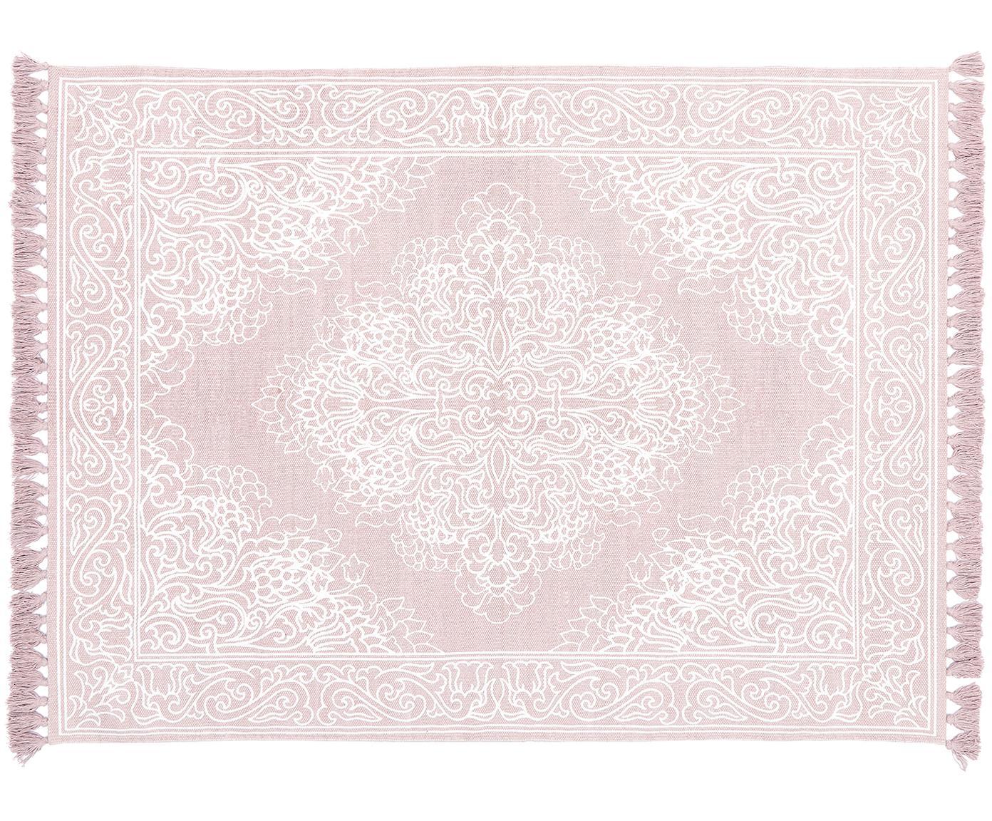Ręcznie tkany dywan z bawełny z chwostami Salima, Bawełna, Blady różowy, kremowobiały, S 50 x D 80 cm (Rozmiar XXS)