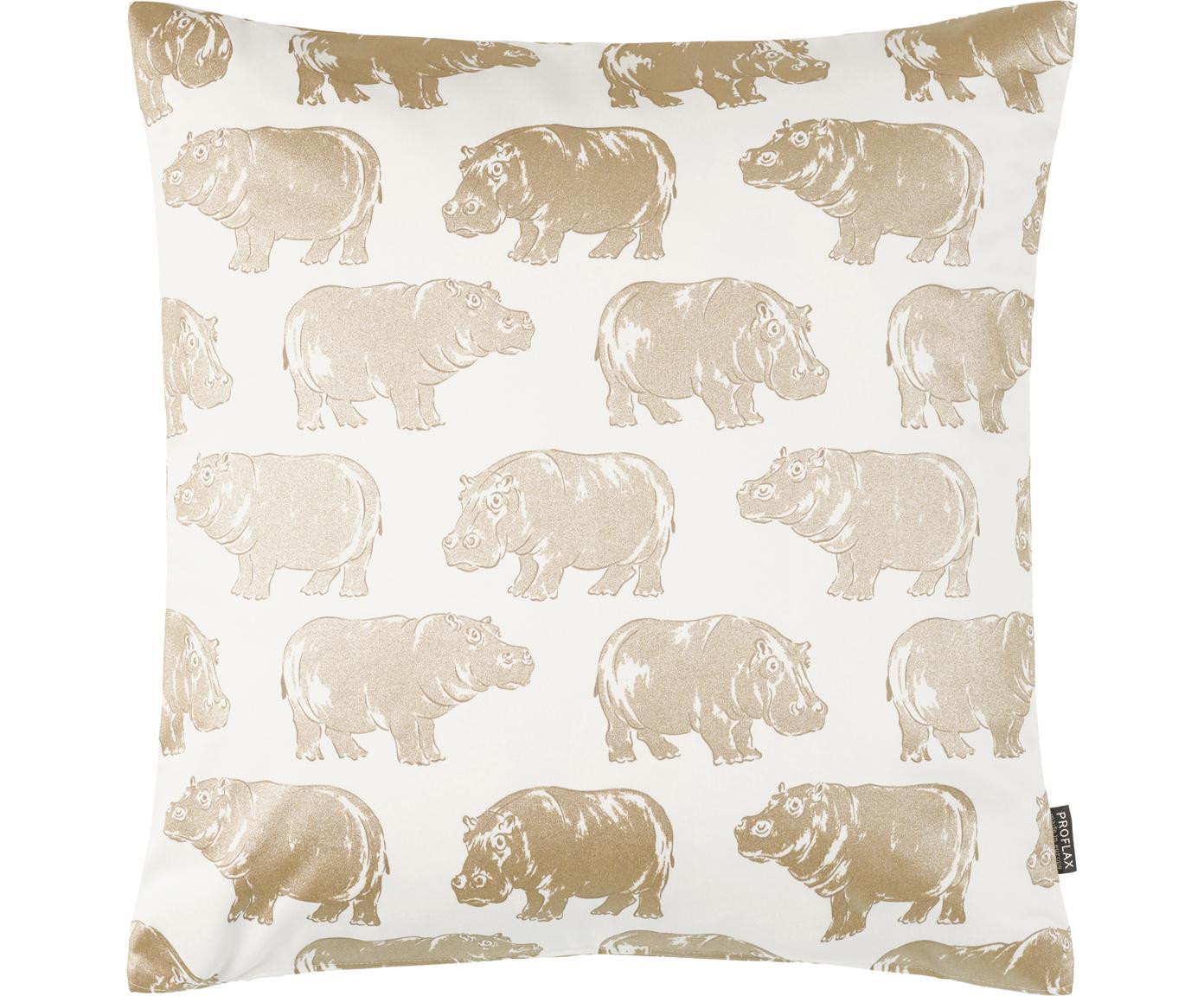 Kissenhülle Hippo mit Tierdruck in Gold/Creme, Baumwolle, Weiß, Goldfarben, 50 x 50 cm