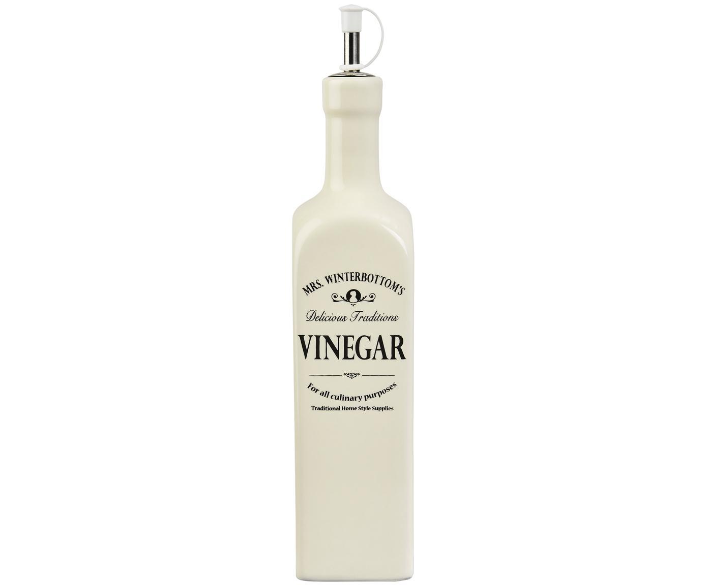 Vinagrera Mrs. Winterbottoms, Gres, acero inoxidable, plástico, Crema, negro, Ø 6 x Al 27 cm