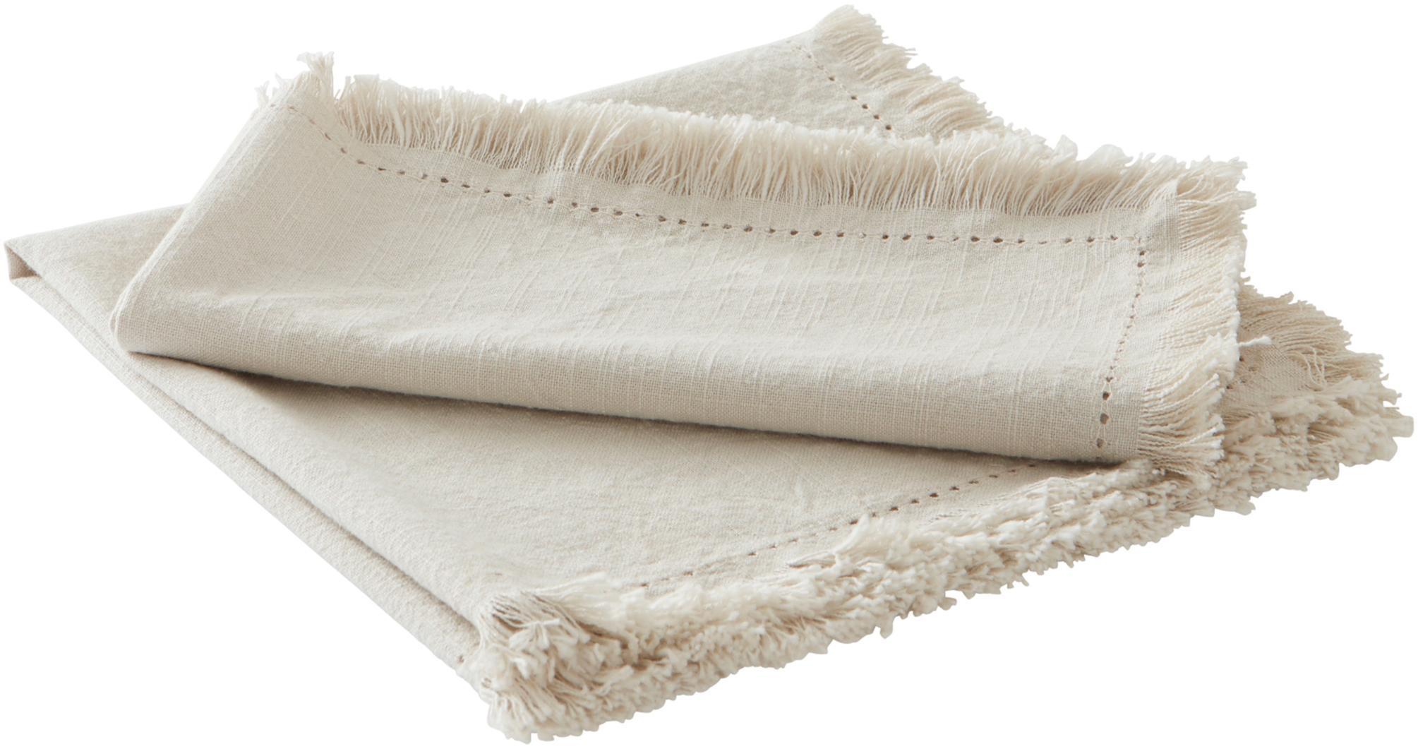Baumwoll-Servietten Hilma mit Fransen, 2 Stück, 100% Baumwolle, Beige, 45 x 45 cm
