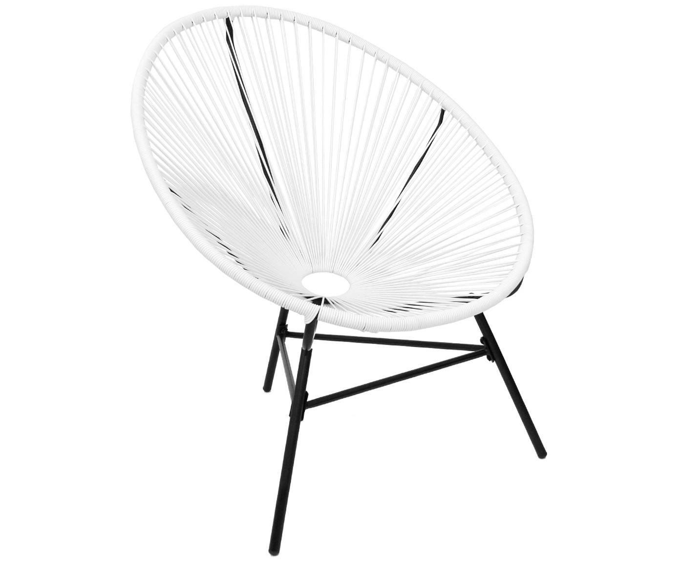 Retro fauteuil Bahia, Frame: Metaal, Zitvlak: Polyethyleen-vlechtwerk, Vlechtwerk: Wit. Frame: Zwart, 81 x 88 cm