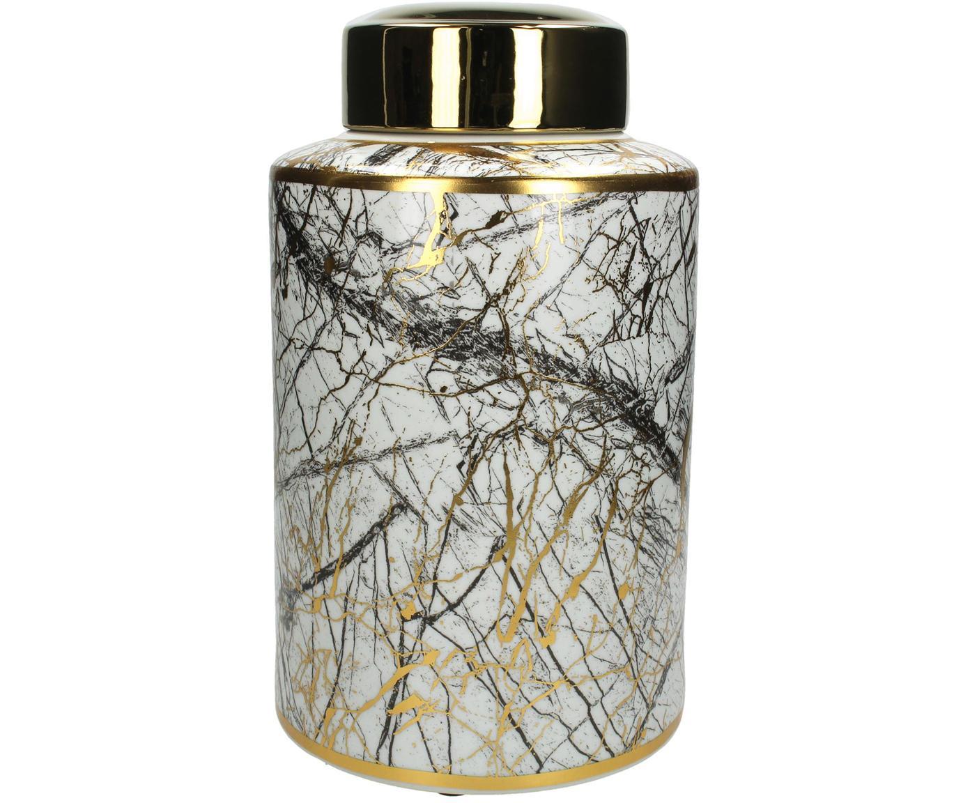 Opbergpot Marble, Porselein, Zwart, wit, goudkleurig, Ø 18 x H 30 cm