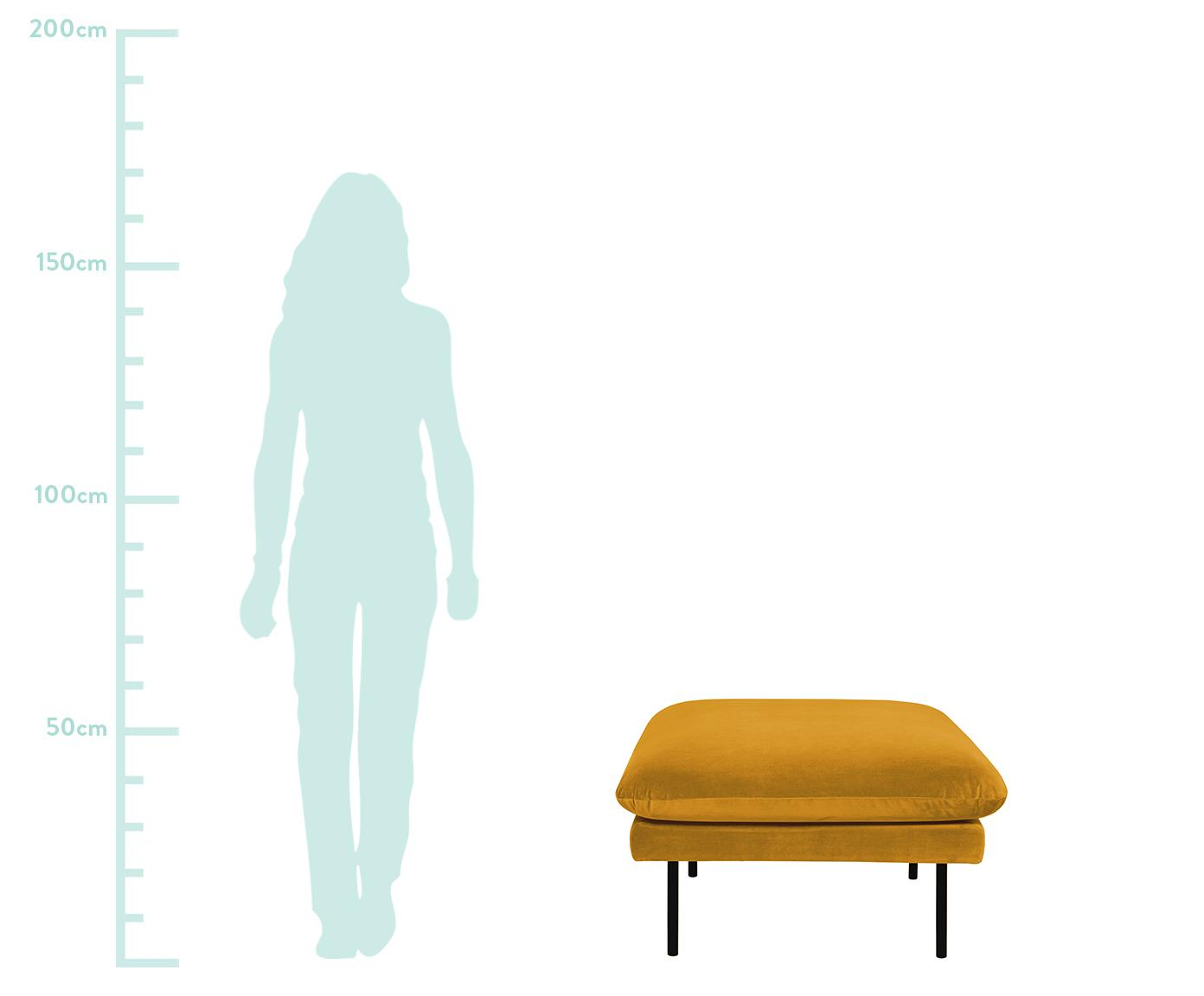 Sofa-Hocker Moby aus Samt, Bezug: Samt (Hochwertiger Polyes, Gestell: Massives Kiefernholz, Füße: Metall, pulverbeschichtet, Samt Senfgelb, 78 x 48 cm