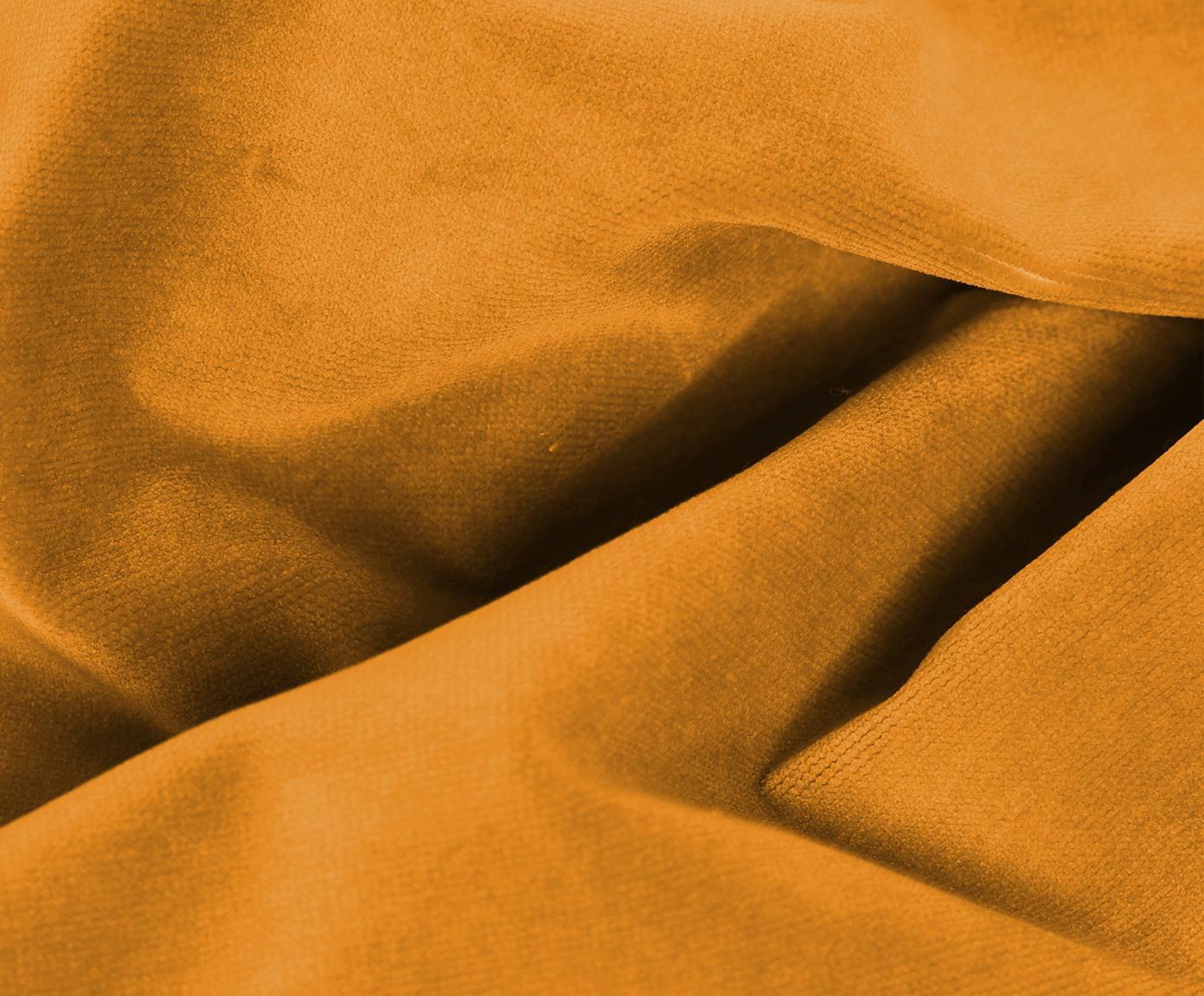Puf z aksamitu Moby, Tapicerka: aksamit (wysokiej jakości, Stelaż: lite drewno sosnowe, Nogi: metal malowany proszkowo, Aksamitny musztardowy, S 78 x W 48 cm