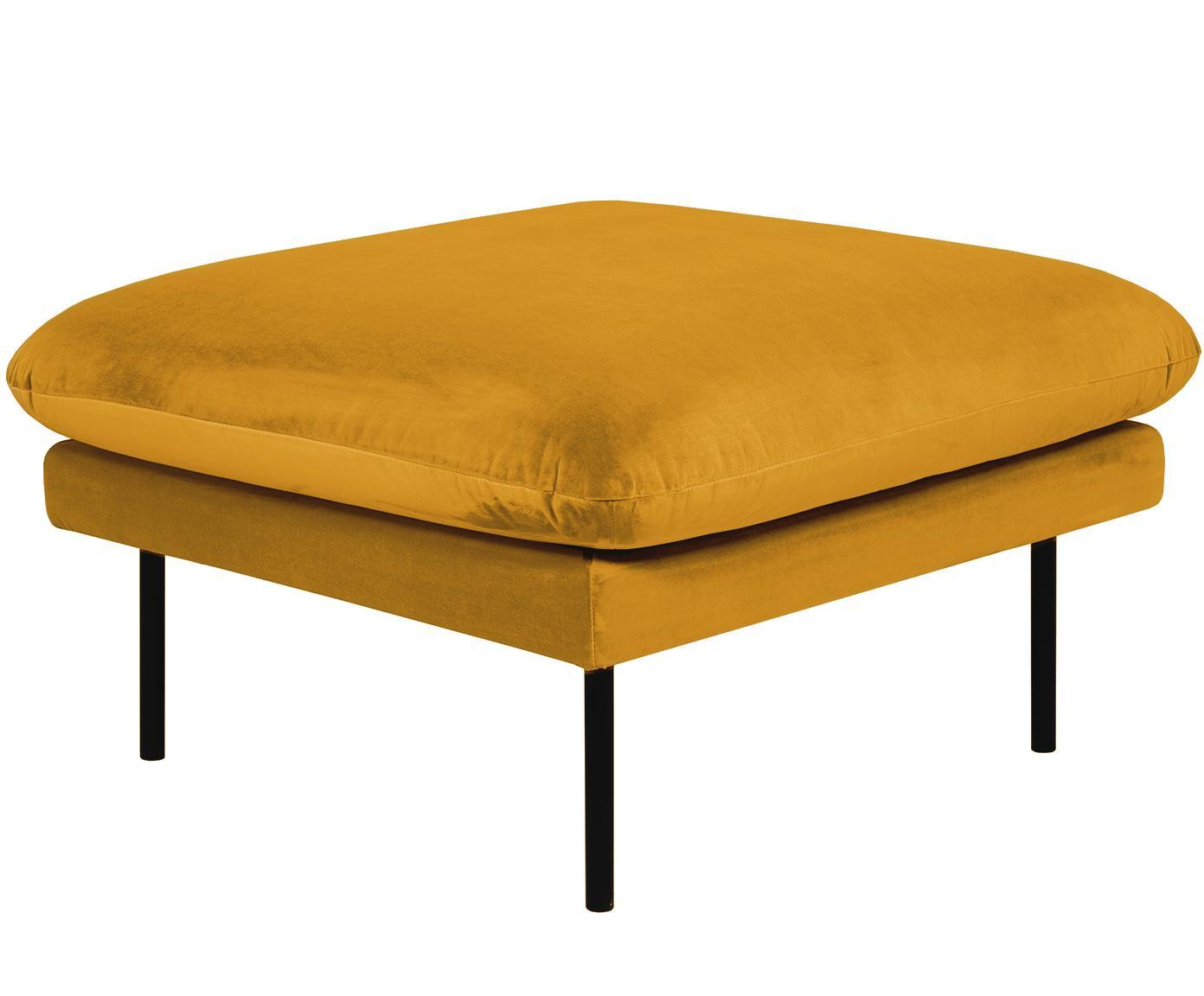 Fluwelen voetenbank Moby, Bekleding: fluweel (hoogwaardige pol, Frame: massief grenenhout, Poten: gepoedercoat metaal, Fluweel mosterdgeel, 78 x 48 cm