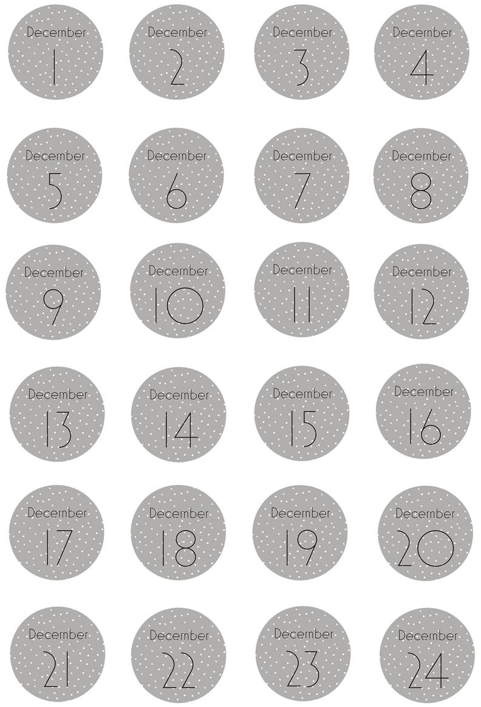 Labelset Advent, 24-delig, Papier, Grijs, wit, zwart, Ø 5 cm