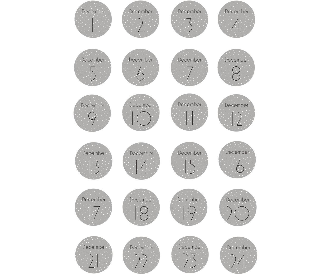 Set 24 adesivi Advent, Carta, Grigio, bianco, nero, Ø 5 cm
