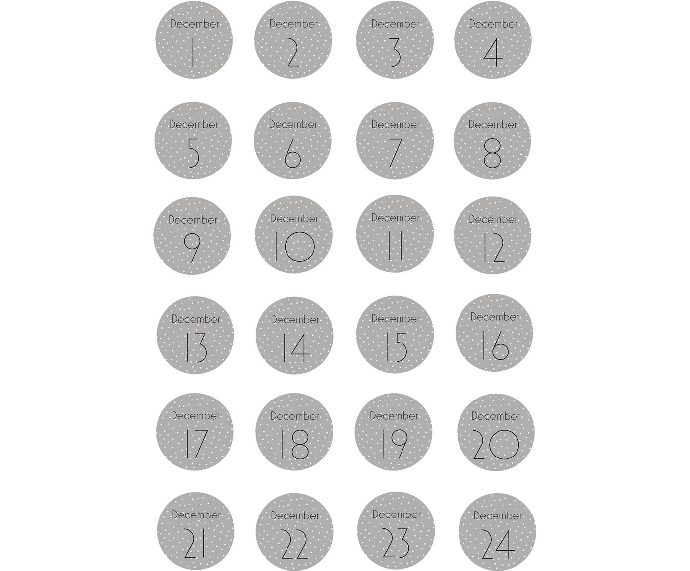 Set de adhesivos Advent, 24pzas., Papel, Gris, blanco, negro, Ø 5 cm