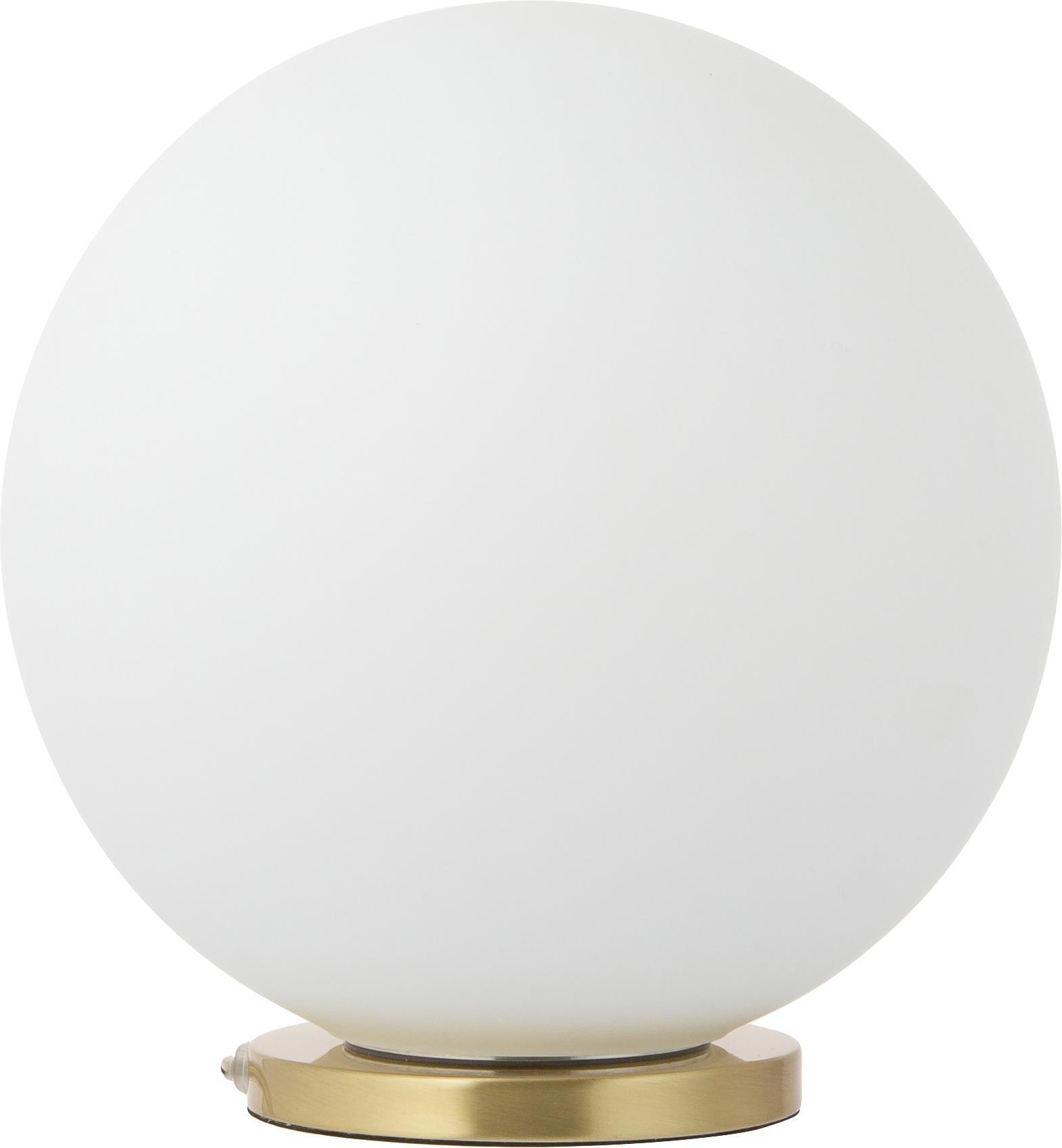 Lámpara de mesa de vidrio Beth, Pantalla: vidrio, Blanco, latón, Ø 25 x Al 26 cm