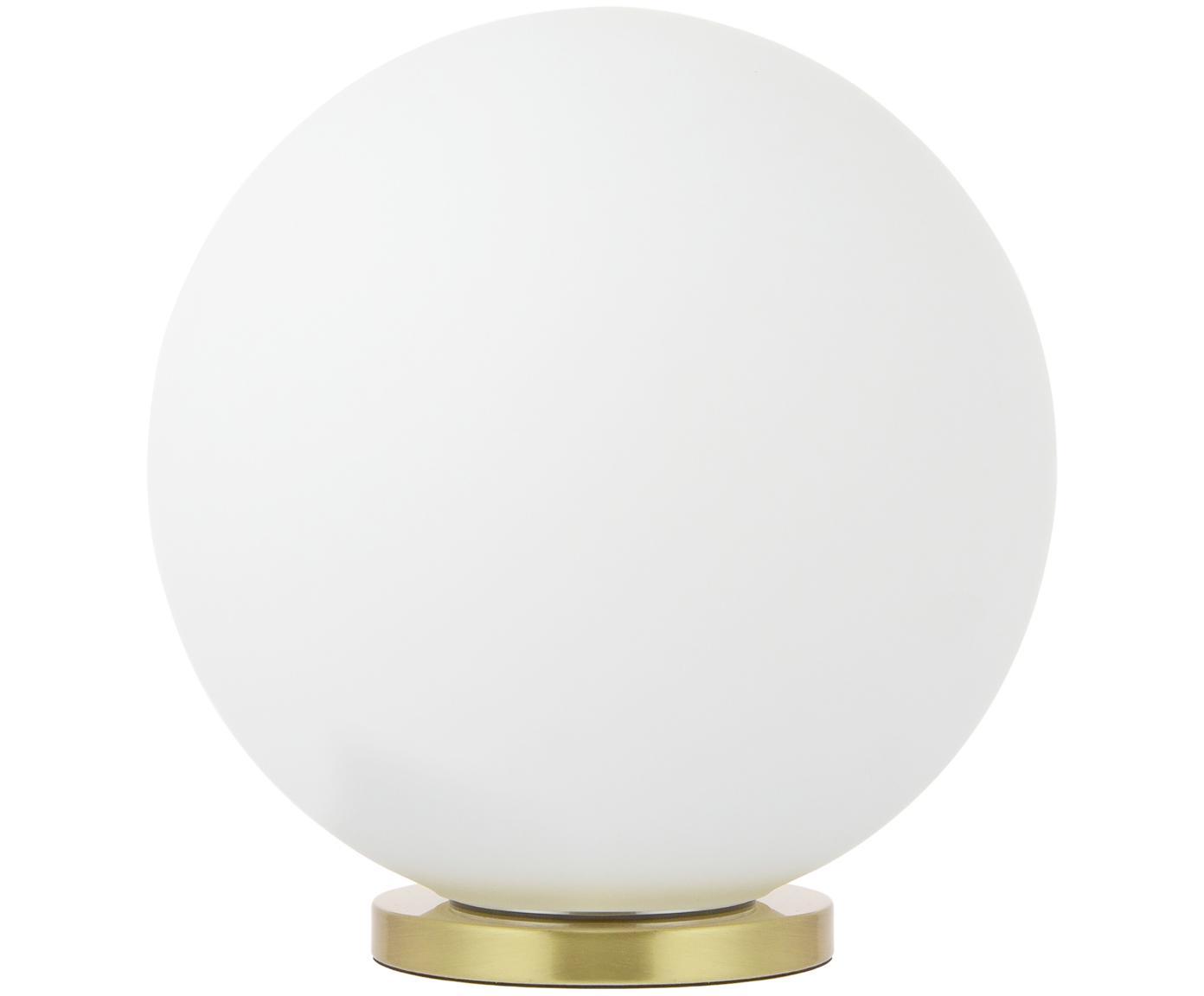 Runde Tischleuchte Beth, Lampenschirm: Glas, Lampenfuß: Metall, vermessingt, Weiß, Messing, Ø 25 x H 26 cm