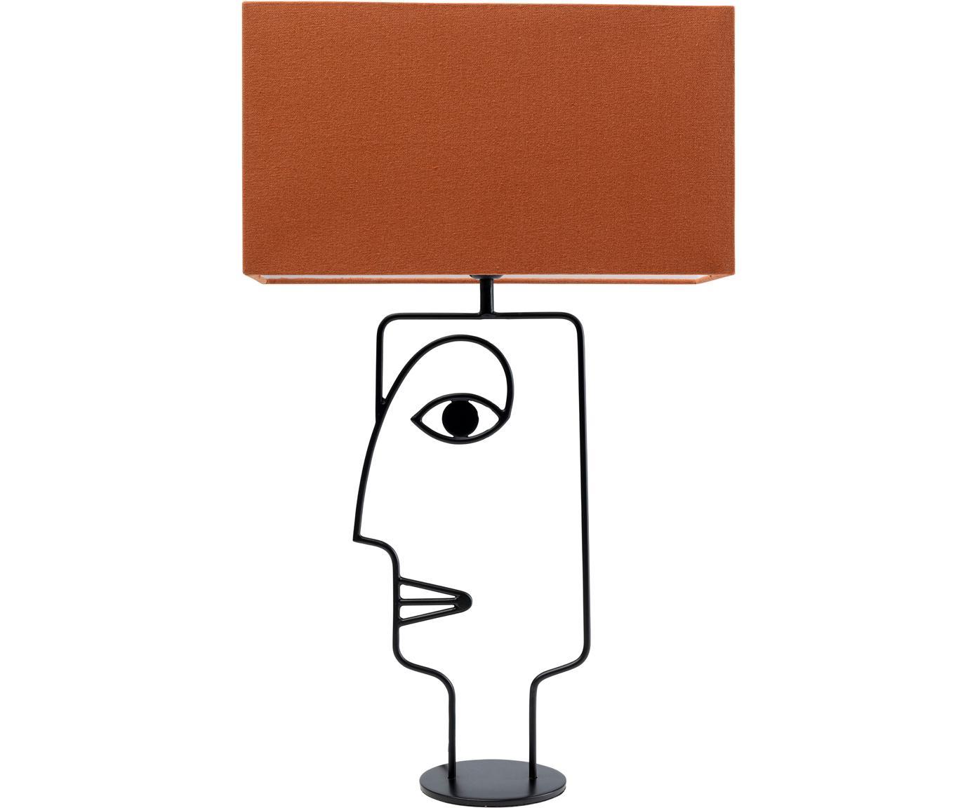 Grote tafellamp Face Orange, Lampenkap: katoen, Frame: gepoedercoat staal, Lampvoet: gepoedercoat staal, Oranje, zwart, 40 x 66 cm