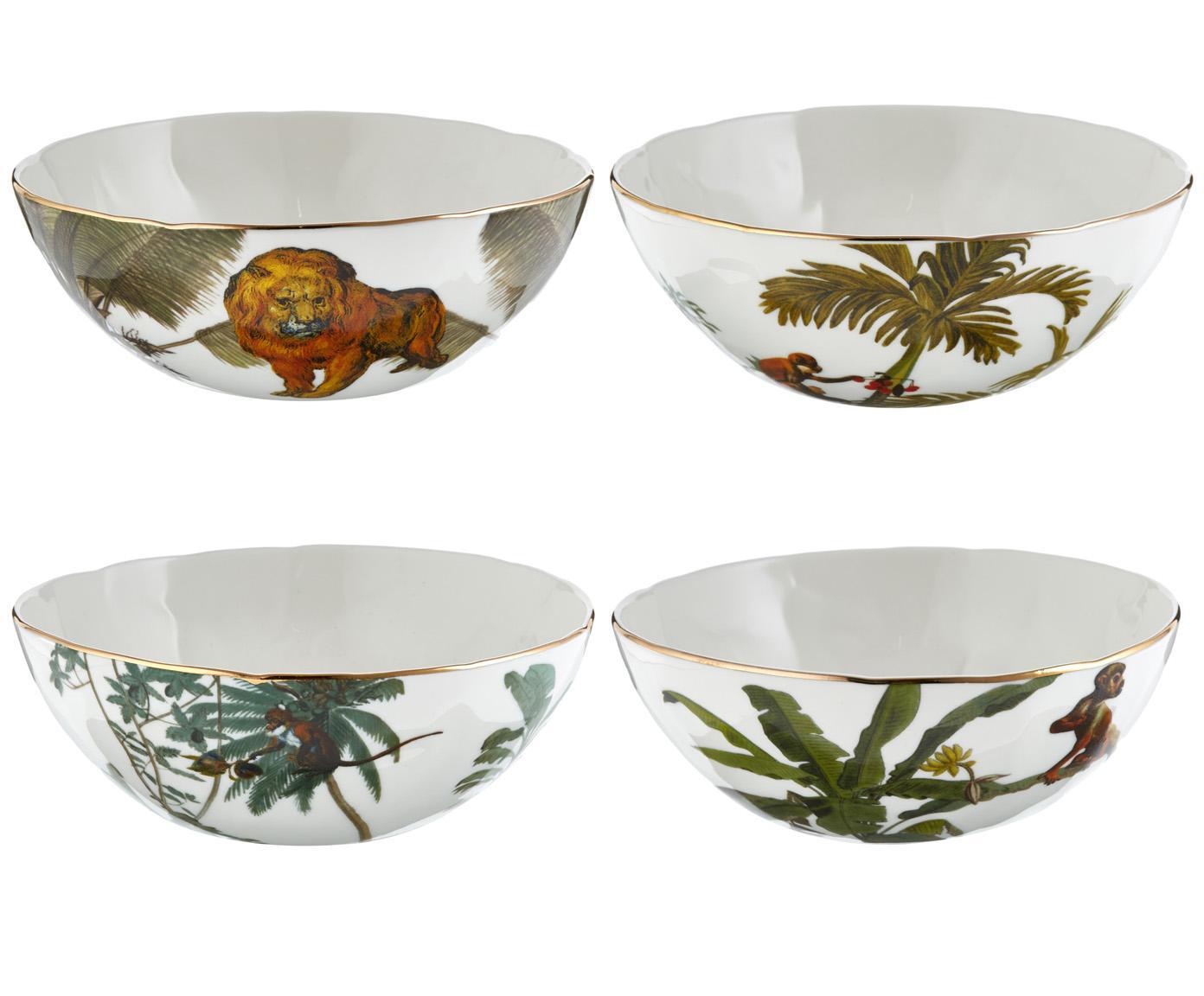 Set de boles Animaux, 4pzas., Porcelana, Multicolor, Ø 16 x Al 5 cm