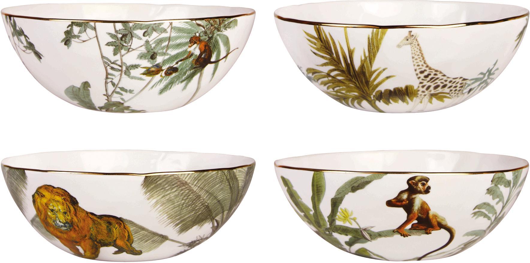 Set 4 ciotole con bordo dorato e motivi tropicali Animaux, Porcellana, Multicolore, Ø 16 x Alt. 5 cm