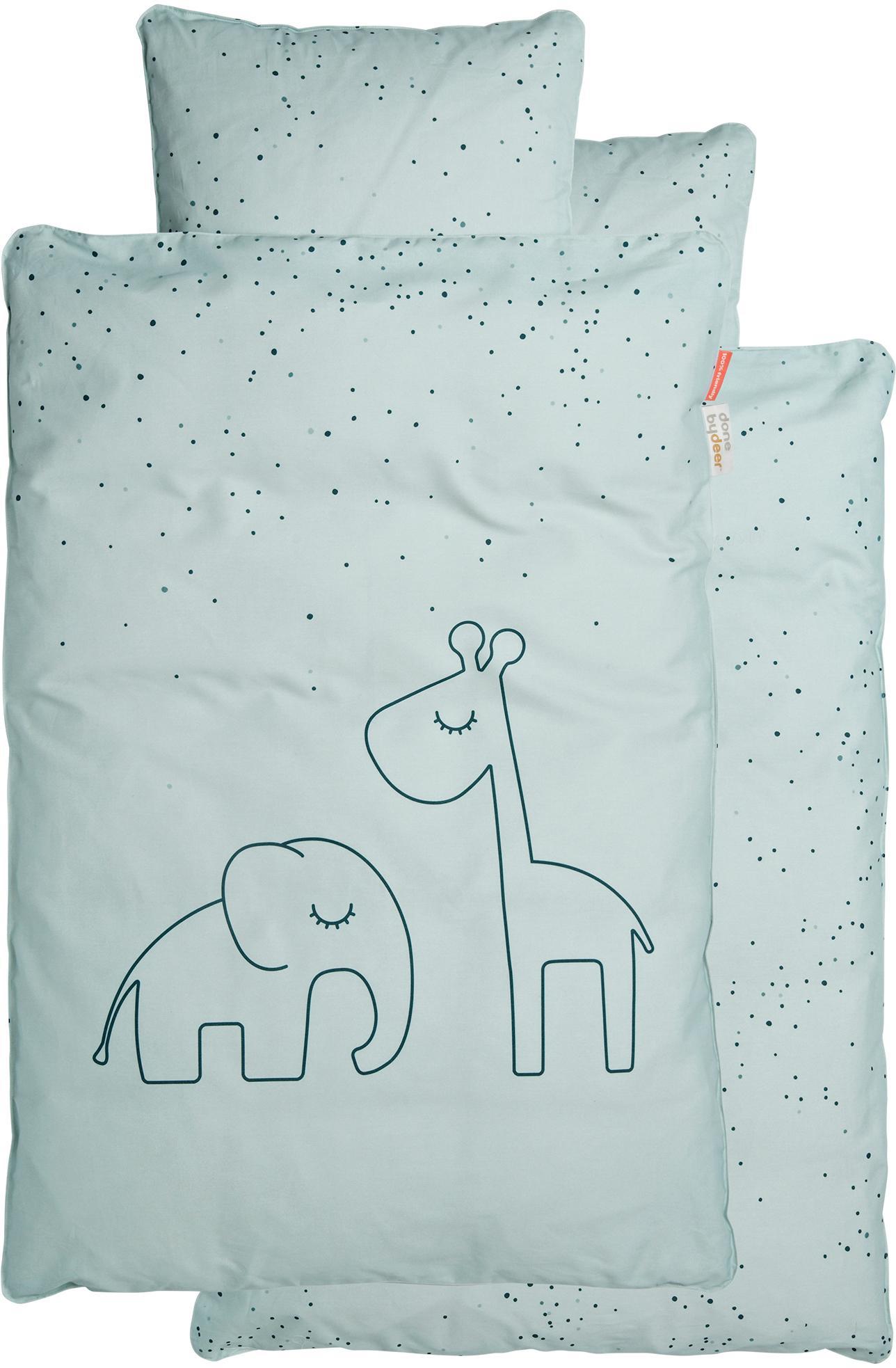 Bettwäsche Dreamy Dots, 100% Baumwolle, Oeko-Tex zertifiziert, Blau, 100 x 140 cm + 1 Kissen 40 x 60 cm