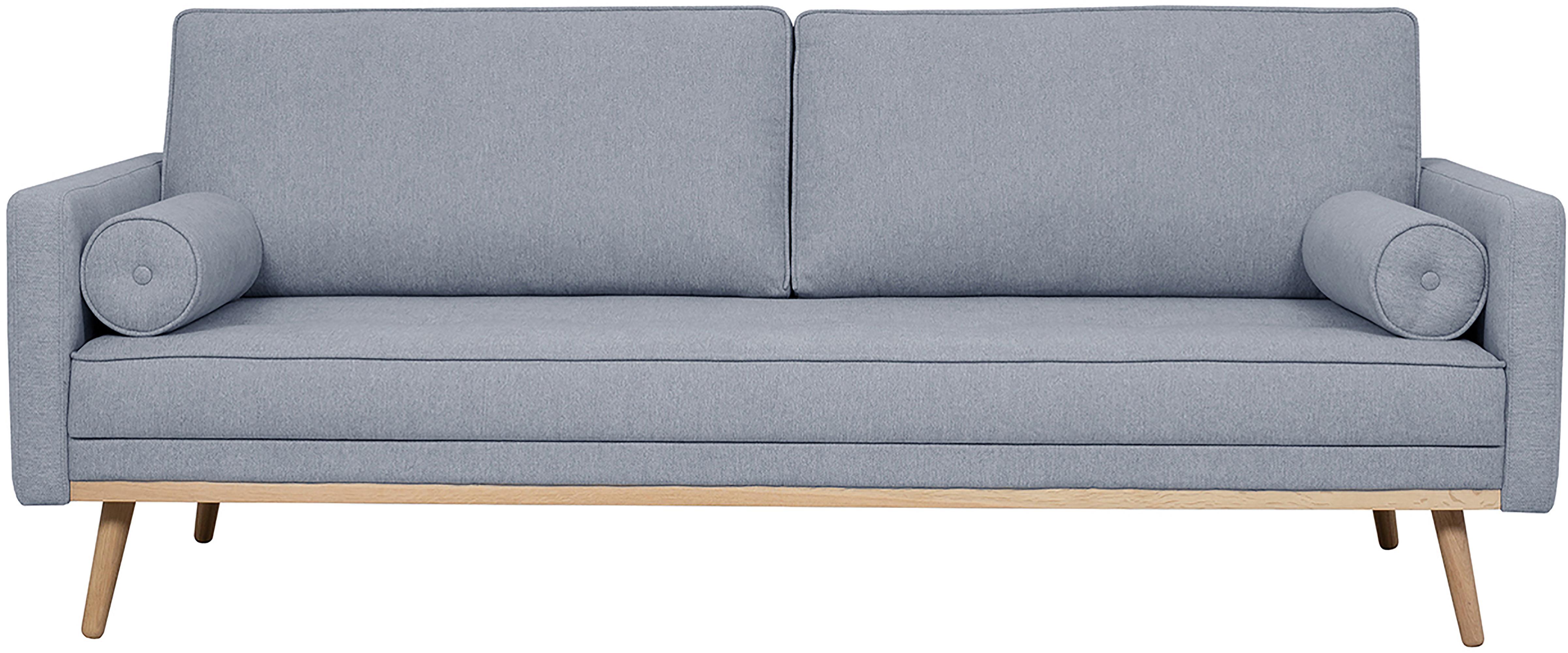 Bank Saint (3-zits), Bekleding: polyester, Frame: massief grenenhout, spaan, Blauwgrijs, 210 x 70 cm