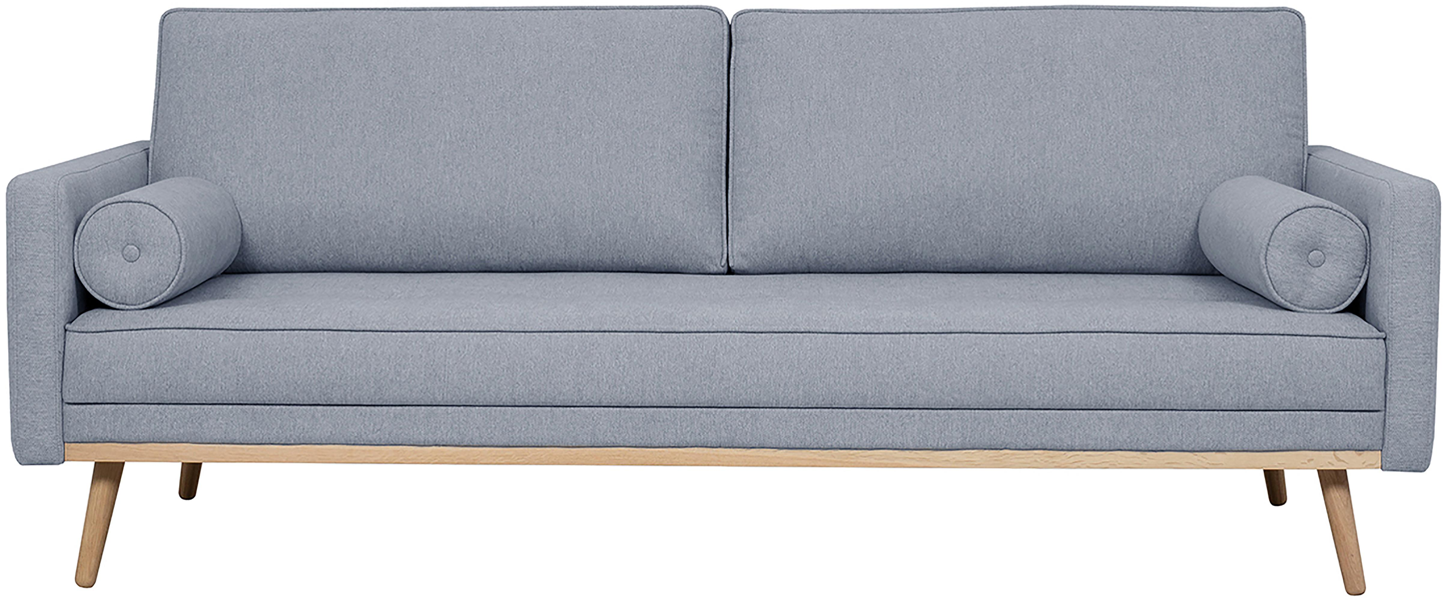 Sofa Saint (3-Sitzer), Bezug: Polyester Der hochwertige, Gestell: Massives Kiefernholz, Spa, Webstoff Blaugrau, 210 x 70 cm