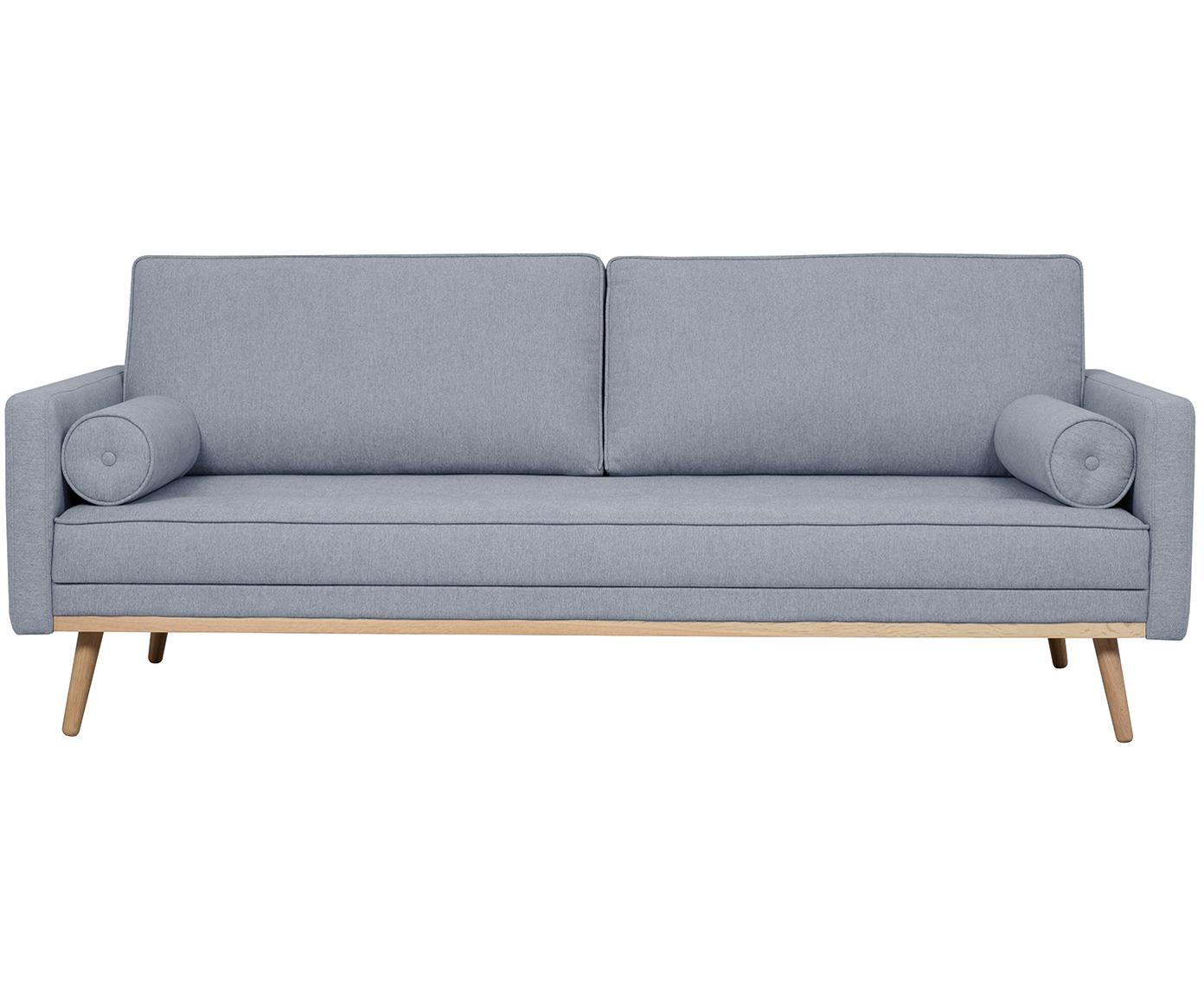 Divano 3 posti in tessuto blu grigio Saint, Rivestimento: poliestere 50.000 cicli d, Struttura: legno di pino massiccio, , Blu grigio, Larg. 210 x Alt. 70 cm