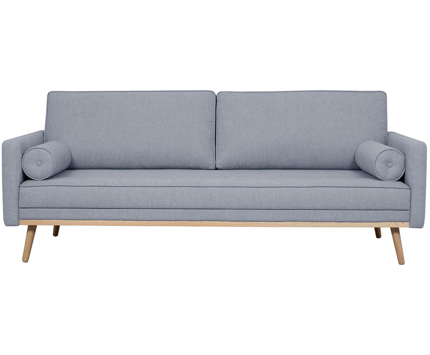 Sofa Saint (3-Sitzer), Bezug: Polyester 50.000 Scheuert, Gestell: Massives Kiefernholz, Spa, Webstoff Blaugrau, 210 x 70 cm