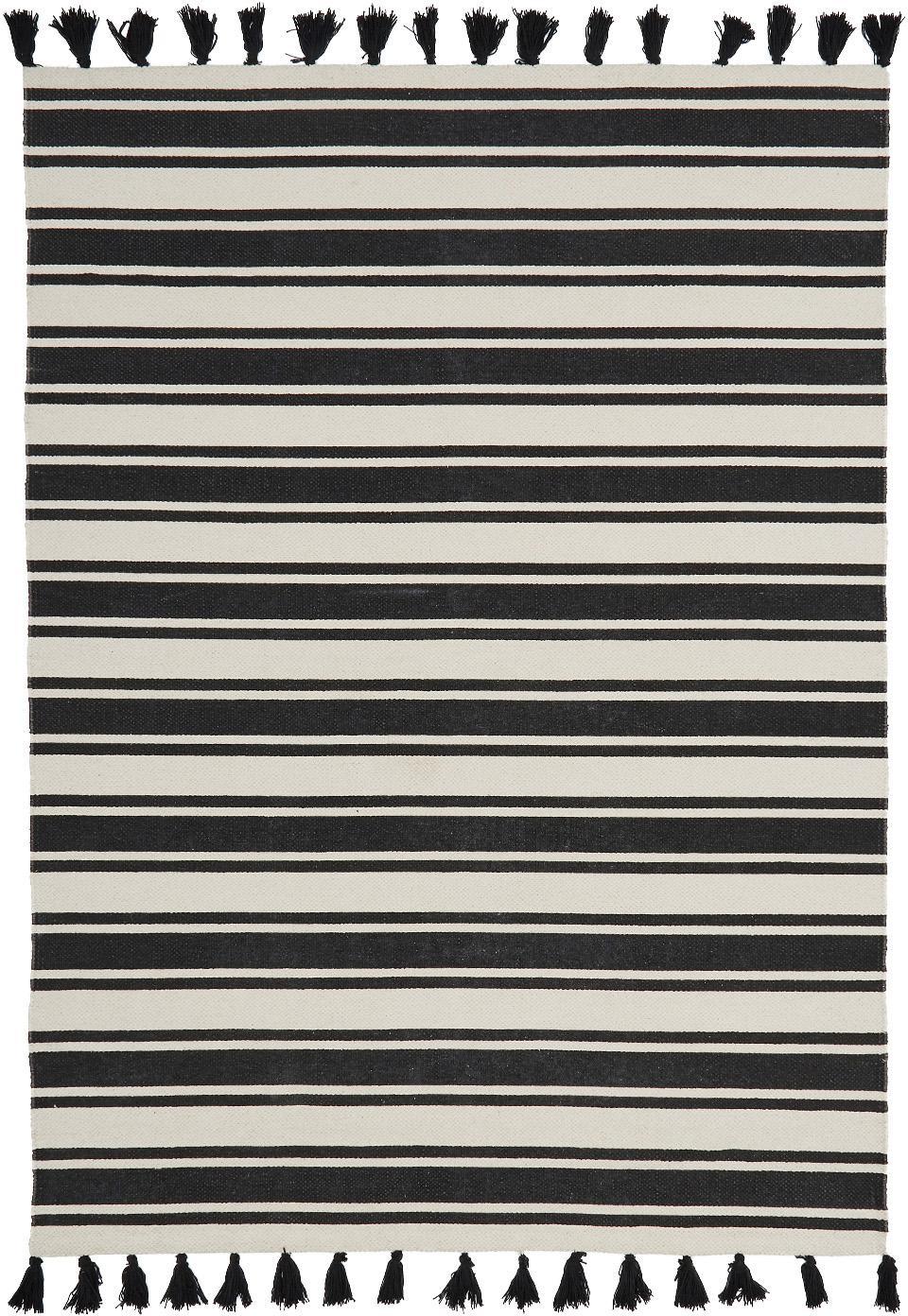 Dywan z bawełny w paski Vigga z chwostami, ręcznie tkany, Czarny, beżowy, S 120 x D 180 cm (Rozmiar S)