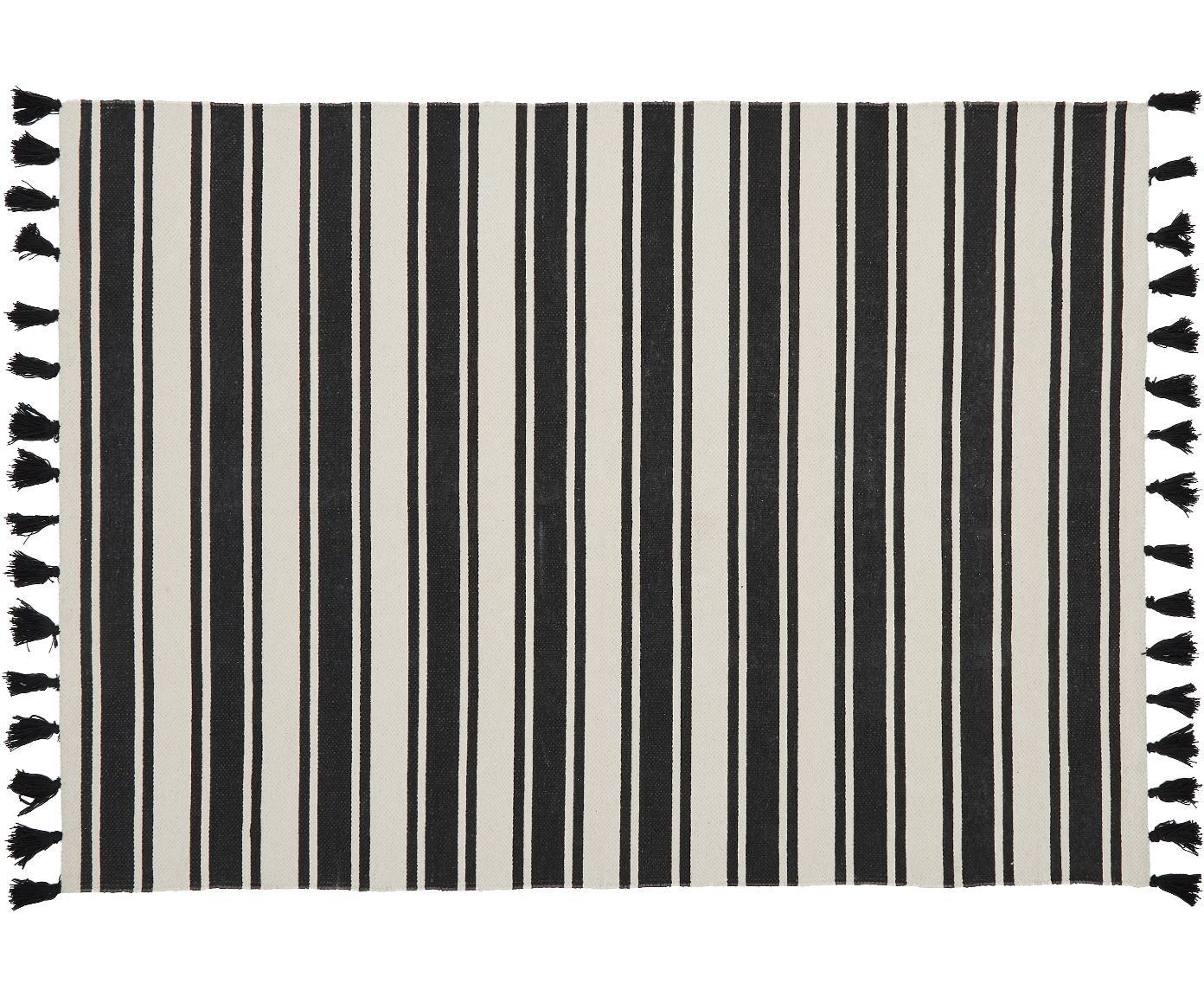 Gestreifter Baumwollteppich Vigga mit Quasten, handgewebt, Schwarz, Beige, B 120 x L 180 cm (Grösse S)