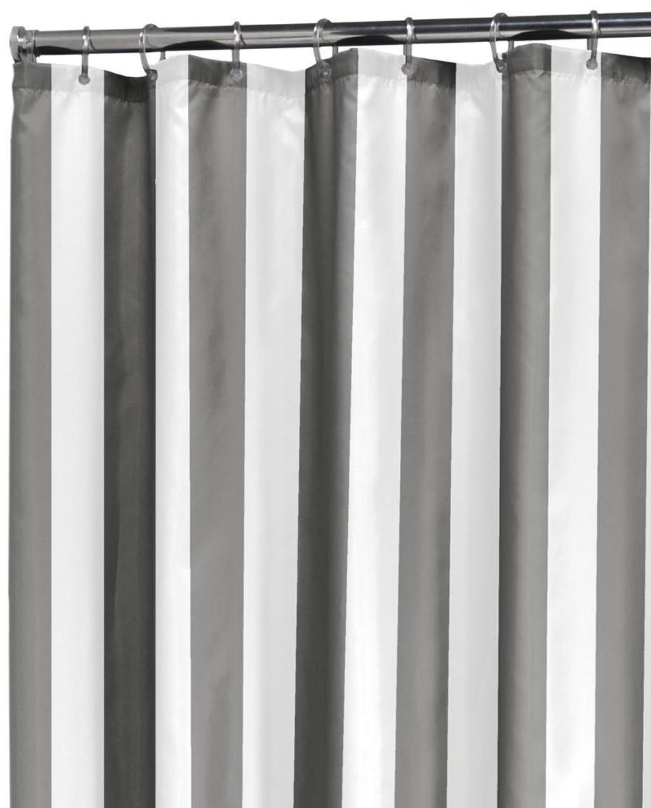 Gestreepte douchegordijn Maggie, Oogjes: metaal, Grijs, wit, 180 x 200 cm