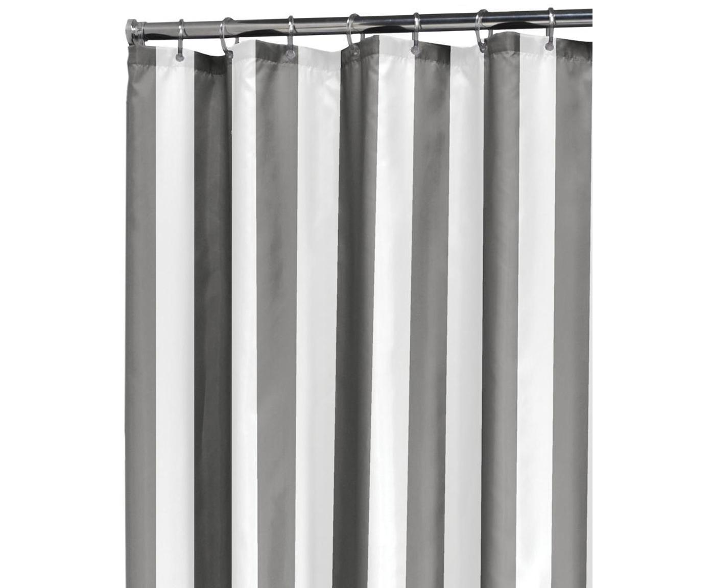Cortina de baño Maggie, Ojales: metal, Gris, blanco, An 180 x L 200 cm