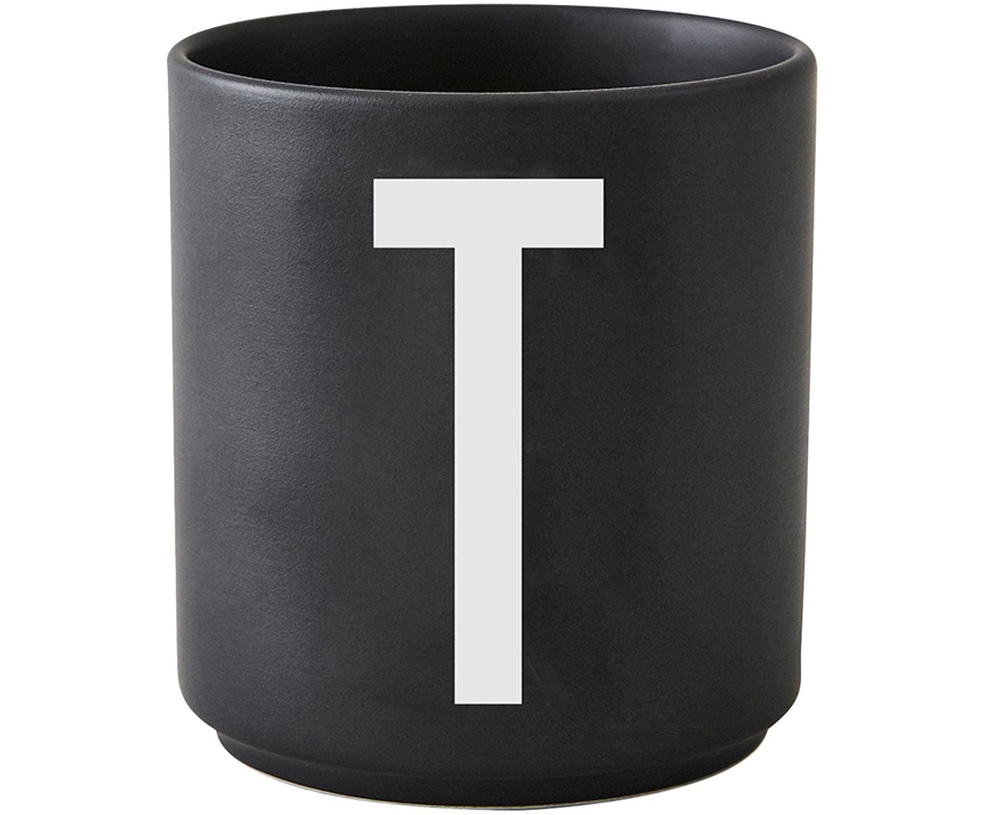 Design Becher Personal mit Buchstaben (Varianten von A bis Z), Fine Bone China (Porzellan), Schwarz matt, Weiß, Becher T