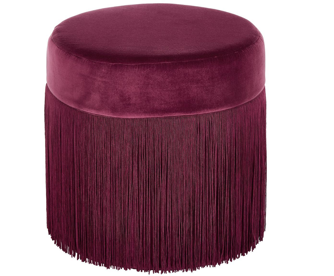Puf z frędzlami Adriana, Tapicerka: aksamit bawełniany, Burgundowy czerwony, Ø 40 x W 40 cm