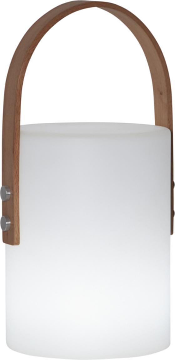 LED Außenleuchte Lucie, batteriebetrieben, Gehäuse: Kunststoff, Griff: Holz, Weiß, Holz, 19 x 34 cm