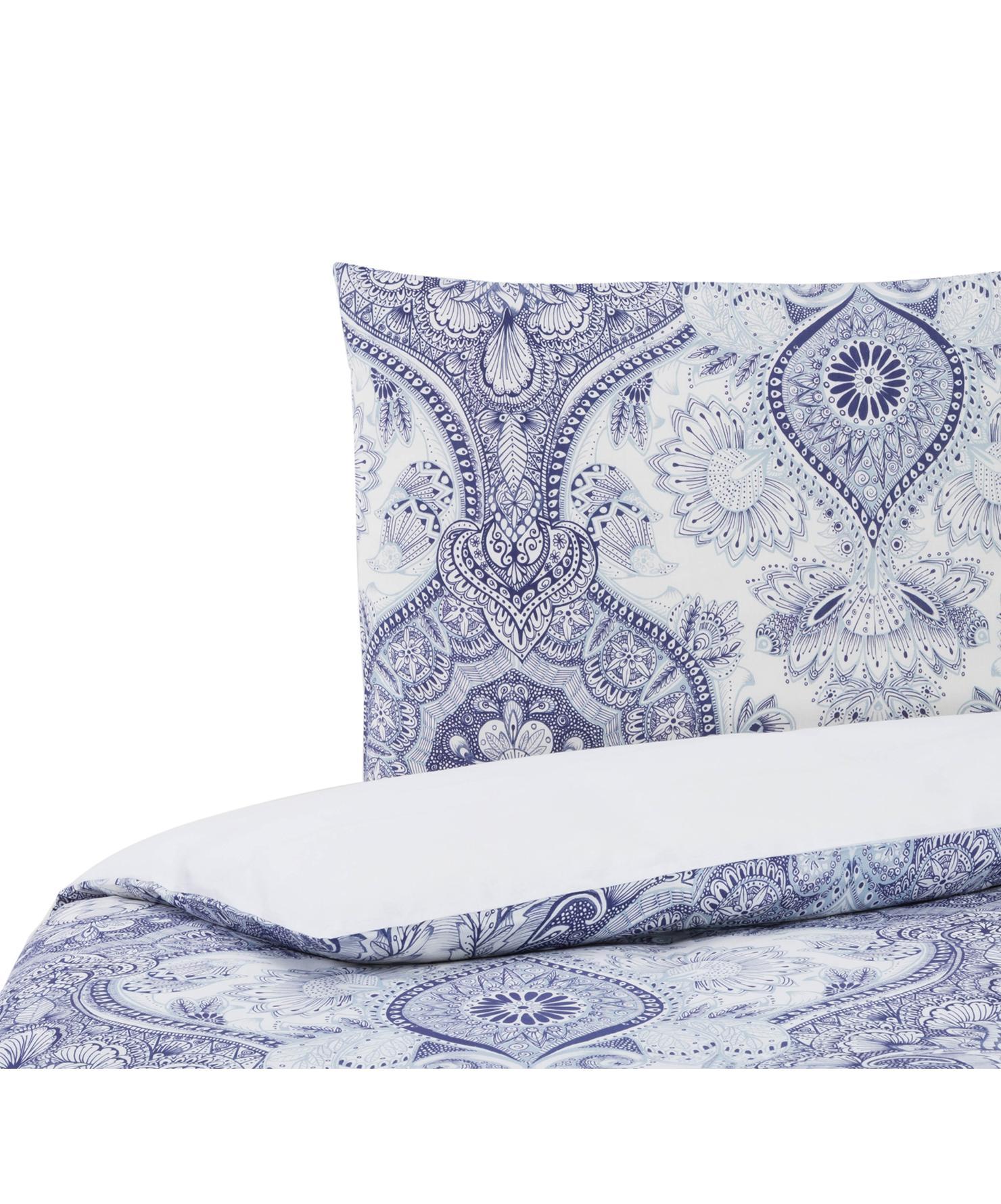 Dubbelzijdig dekbedovertrek Lato, Katoen, Bovenzijde: blauwtinten, wit. Onderzijde: wit, 140 x 200 cm