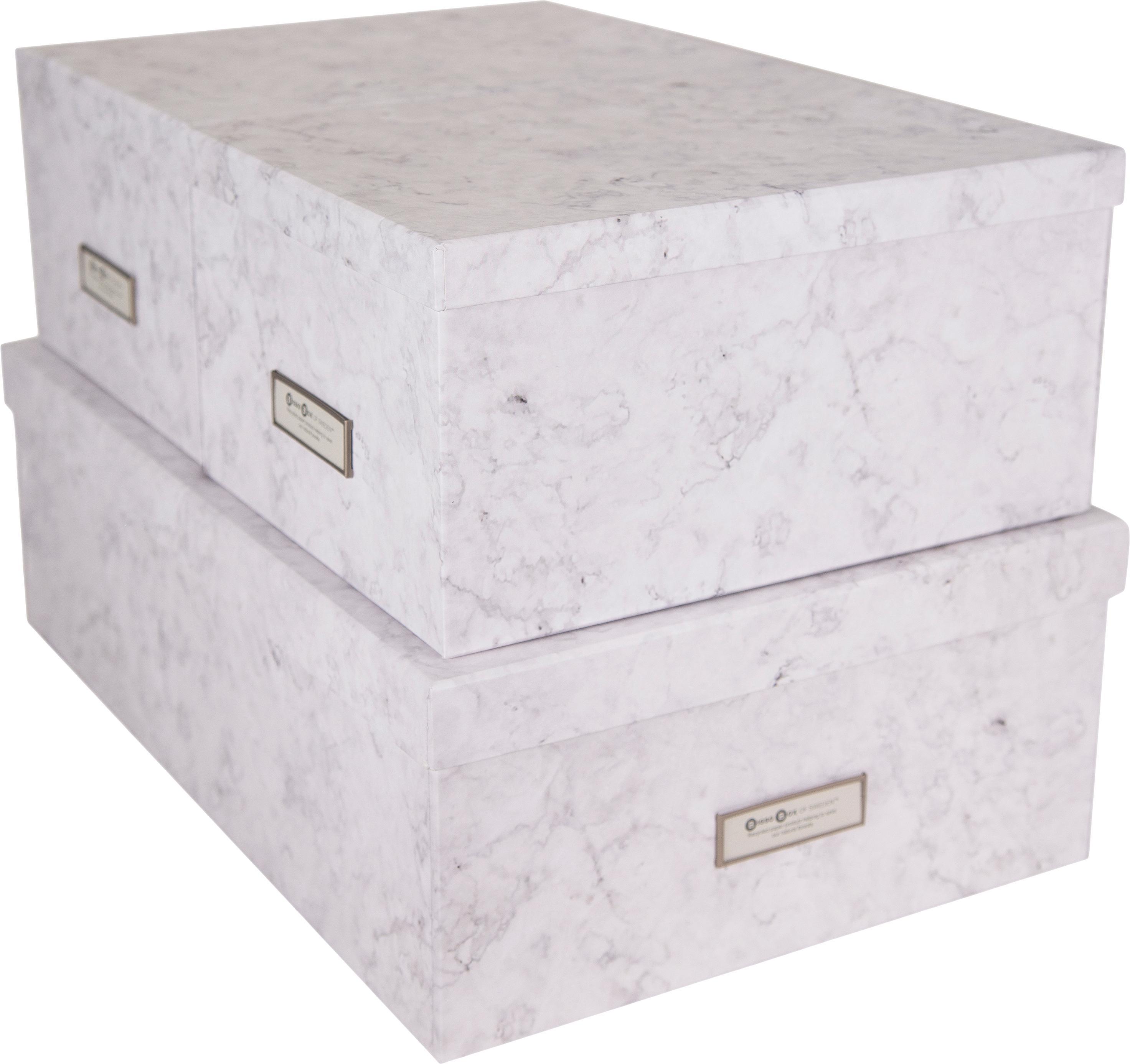 Set 3 scatole Inge, Scatola: solido, cartone laminato, Bianco marmorizzato, Diverse dimensioni