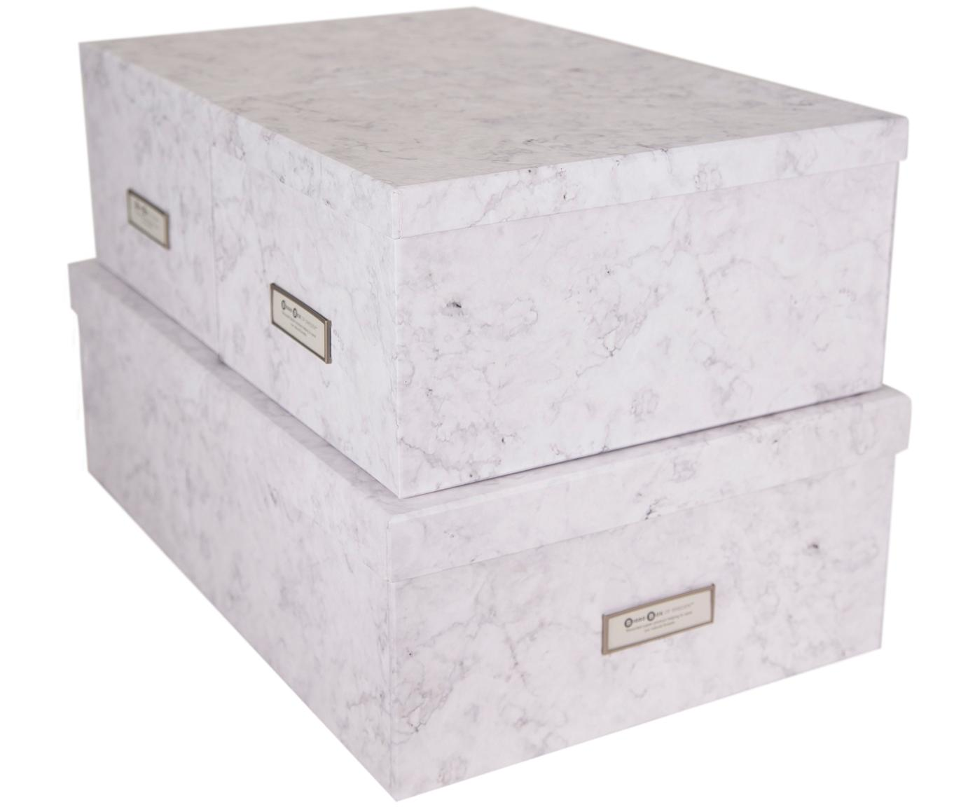 Komplet pudełek do przechowywania Inge, 3 elem., Biały, marmurowy, Różne rozmiary
